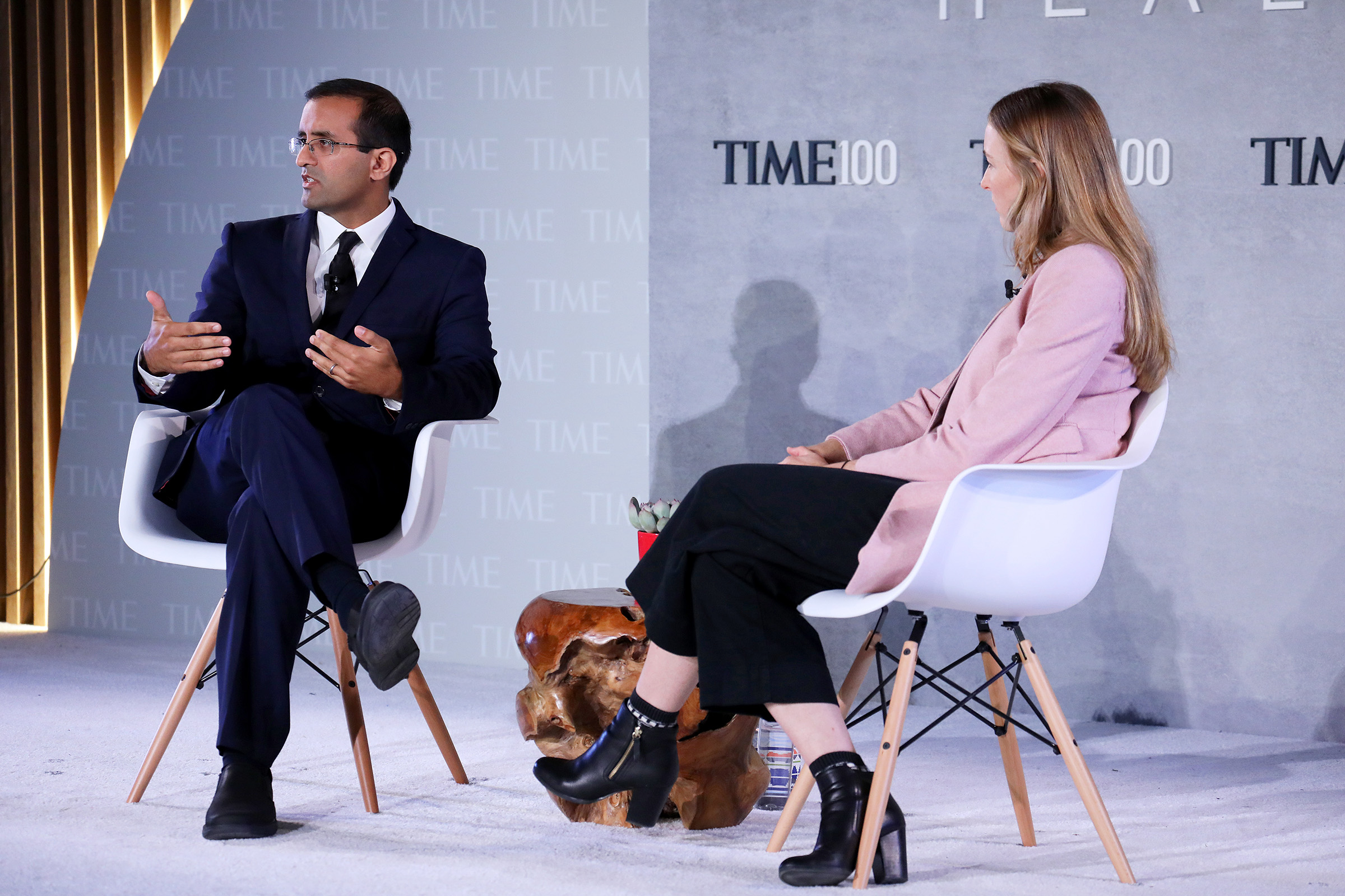 Co-Founder & CEO of Last Mile Health, Dr. Raj Panjabi (L), and Nation Editor at TIME Haley Sweetland Edwards speak onstage during the TIME 100 Health Summit at Pier 17 in New York City on Oct. 17, 2019.