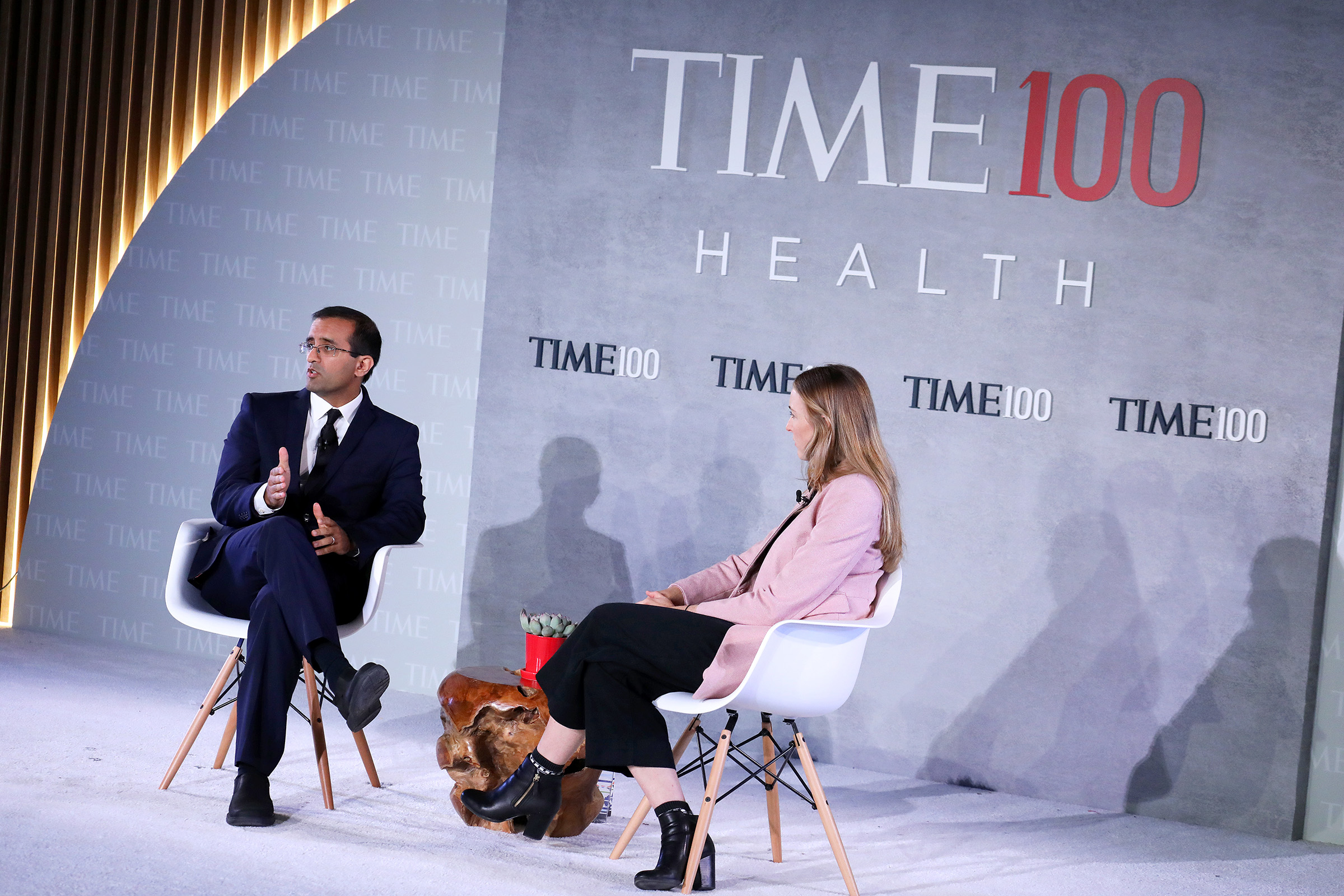 Co-Founder &CEO of Last Mile Health, Dr. Raj Panjabi (L), and Nation Editor at TIME Haley Sweetland Edwards speak onstage during the TIME 100 Health Summit at Pier 17 in New York City on Oct. 17, 2019.
