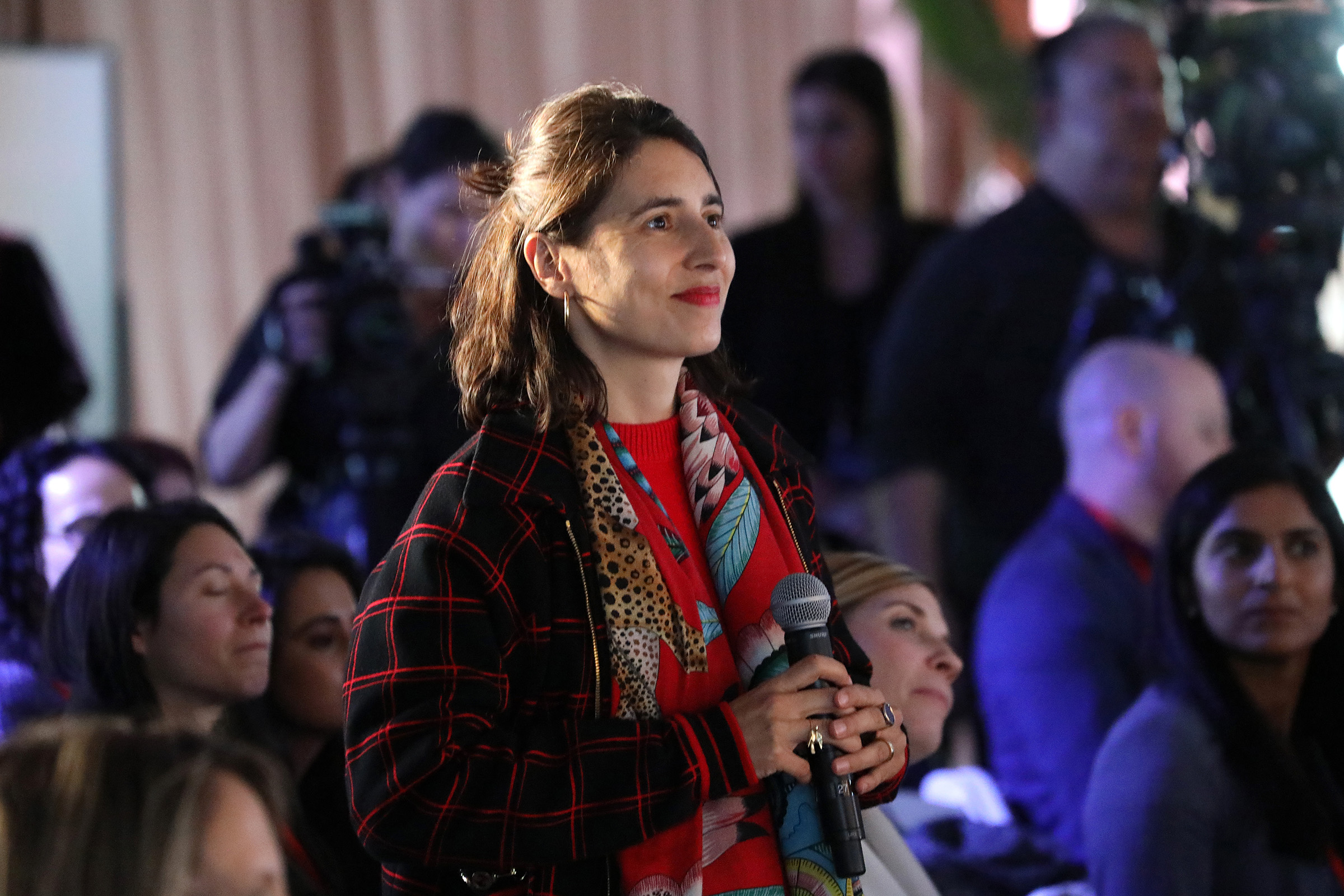 Artist Prune Nourry speaks from the audience during the TIME 100 Health Summit at Pier 17 in New York City on Oct. 17, 2019.