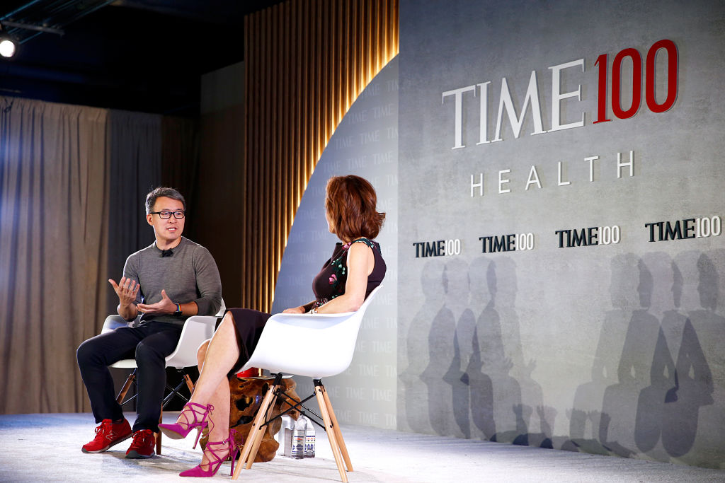 CEO, President and Co-Founder of Fitbit, James Park (L), speaks with Stephanie Ruhle, MSNBC Live Anchor, onstage during the TIME 100 Health Summit at Pier 17 in New York City on Oct. 17, 2019.