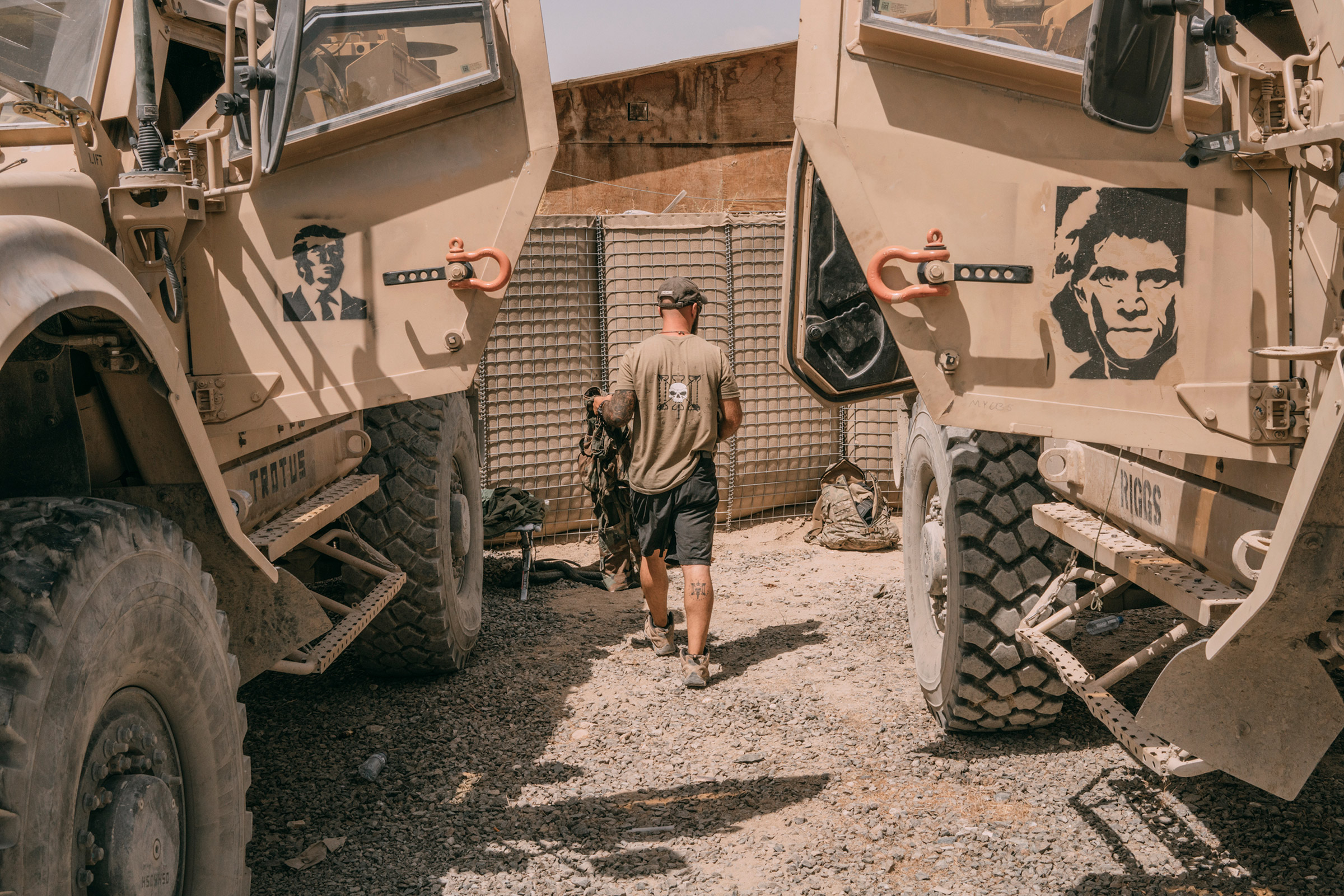 Armored vehicles in Ghazni, Afghanistan, in August 2018 bear stencils of Donald Trump and Mel Gibson