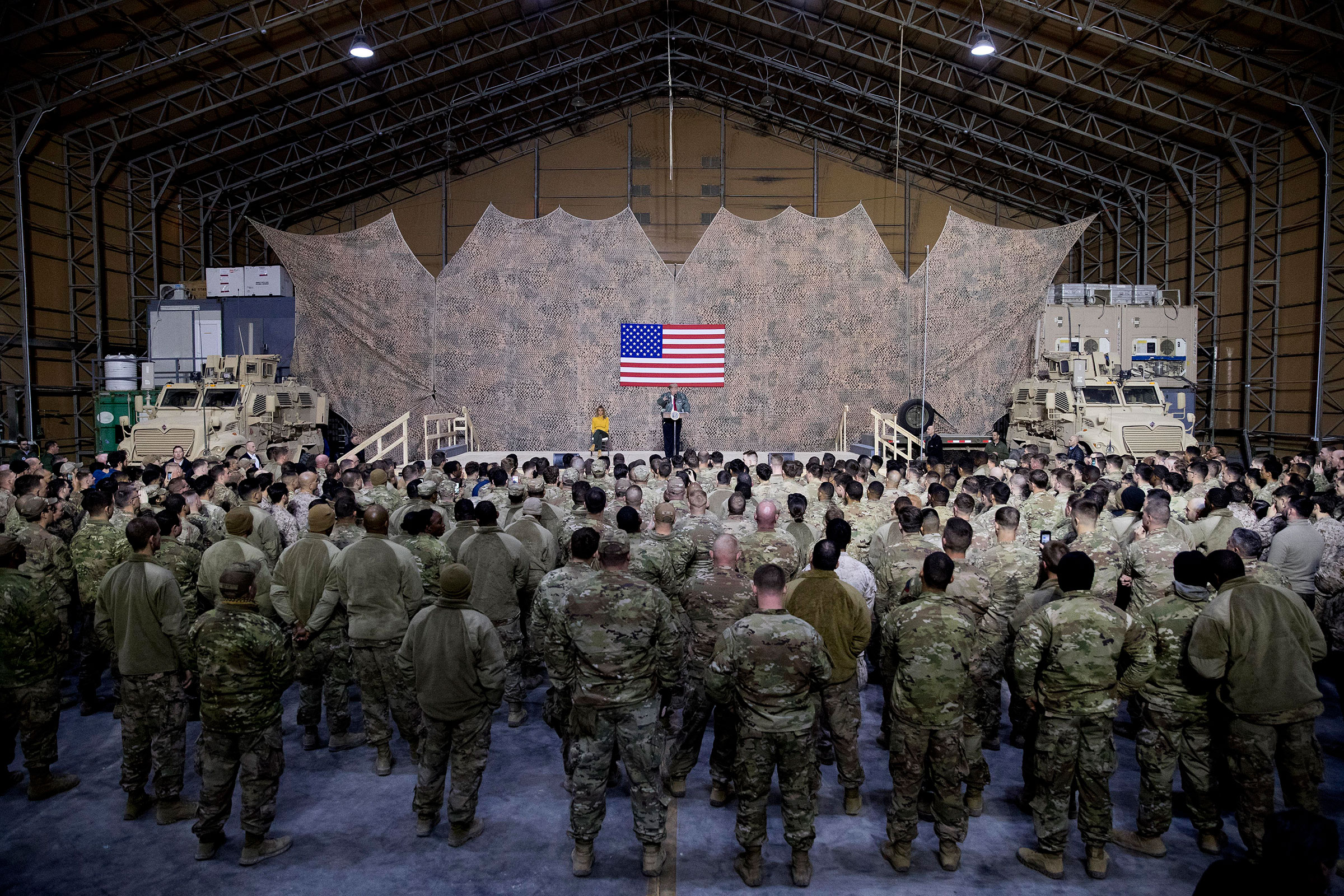 President Trump speaks at a rally in a hangar at Al Asad Air Base, Iraq, on Dec. 26, 2018