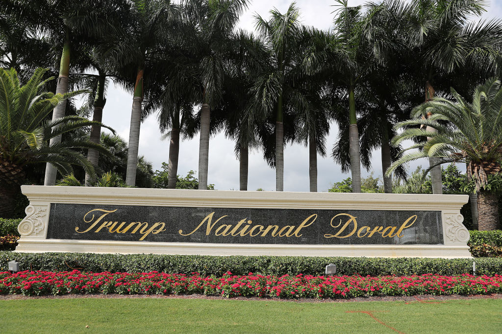A sign is seen near the front entrance  to the Trump National Doral golf resort owned by U.S. President Donald Trump's company on October 17, 2019 in Doral, Florida.