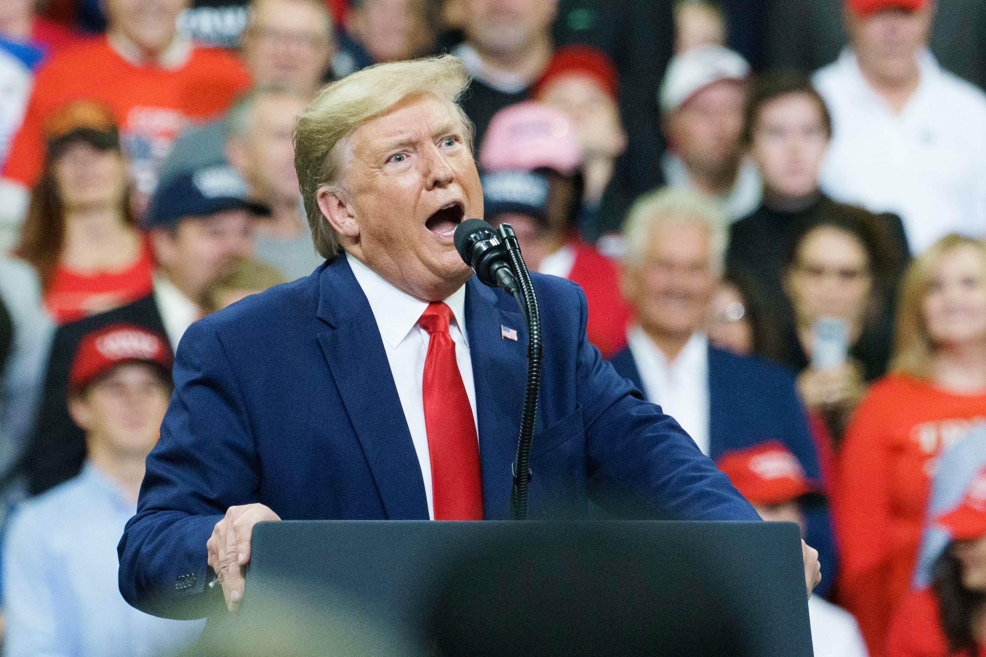 U.S. President Donald Trump speaks during a rally in Minneapolis, Minnesota on Oct. 10, 2019.