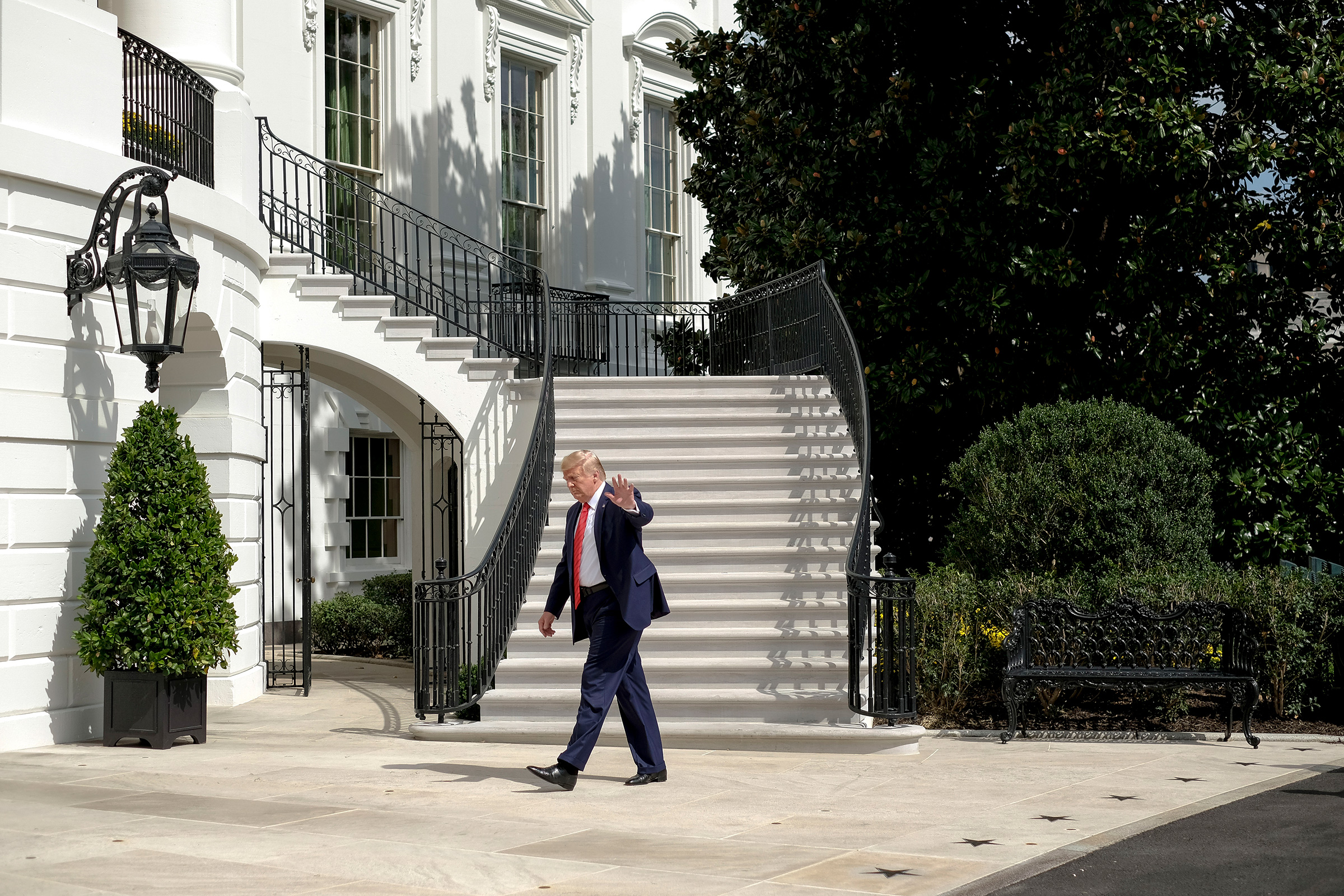 President Donald Trump arrives at the White House in Washington, D.C. on Sept. 26, 2019.