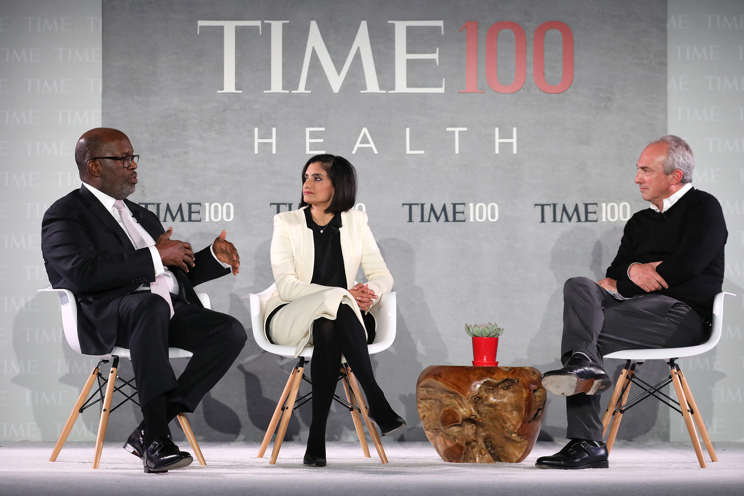 Chairman & CEO at Kaiser Permanente, Bernard J. Tyson, Administrator at Centers for Medicare & Medicaid, Seema Verma, and TIME 100 Health Summit Co-Chair, Dr. David Agus, speak onstage during the TIME 100 Health Summit at Pier 17 on October 17, 2019 in New York City.