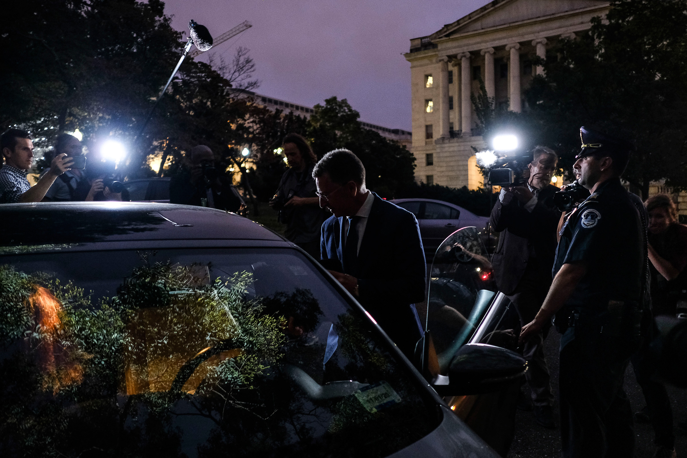 Kurt Volker, former U.S. envoy to Ukraine, leaves the Capitol after delivering hours of testimony to the House intelligence committees in Washington, D.C., on Oct. 3, 2019.