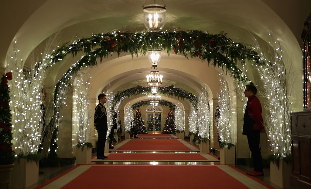 Holiday decorations are seen at a hallway of the White House December 3, 2014 in Washington, DC for the theme  A Children's Winter Wonderland.  (Photo by Alex Wong/Getty Images)
