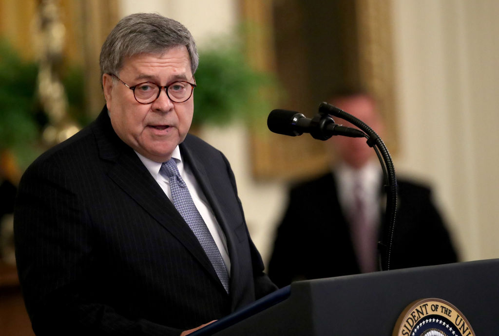 U.S. Attorney General William Barr delivers remarks during a White House ceremony Sept. 9, 2019 in Washington, DC.