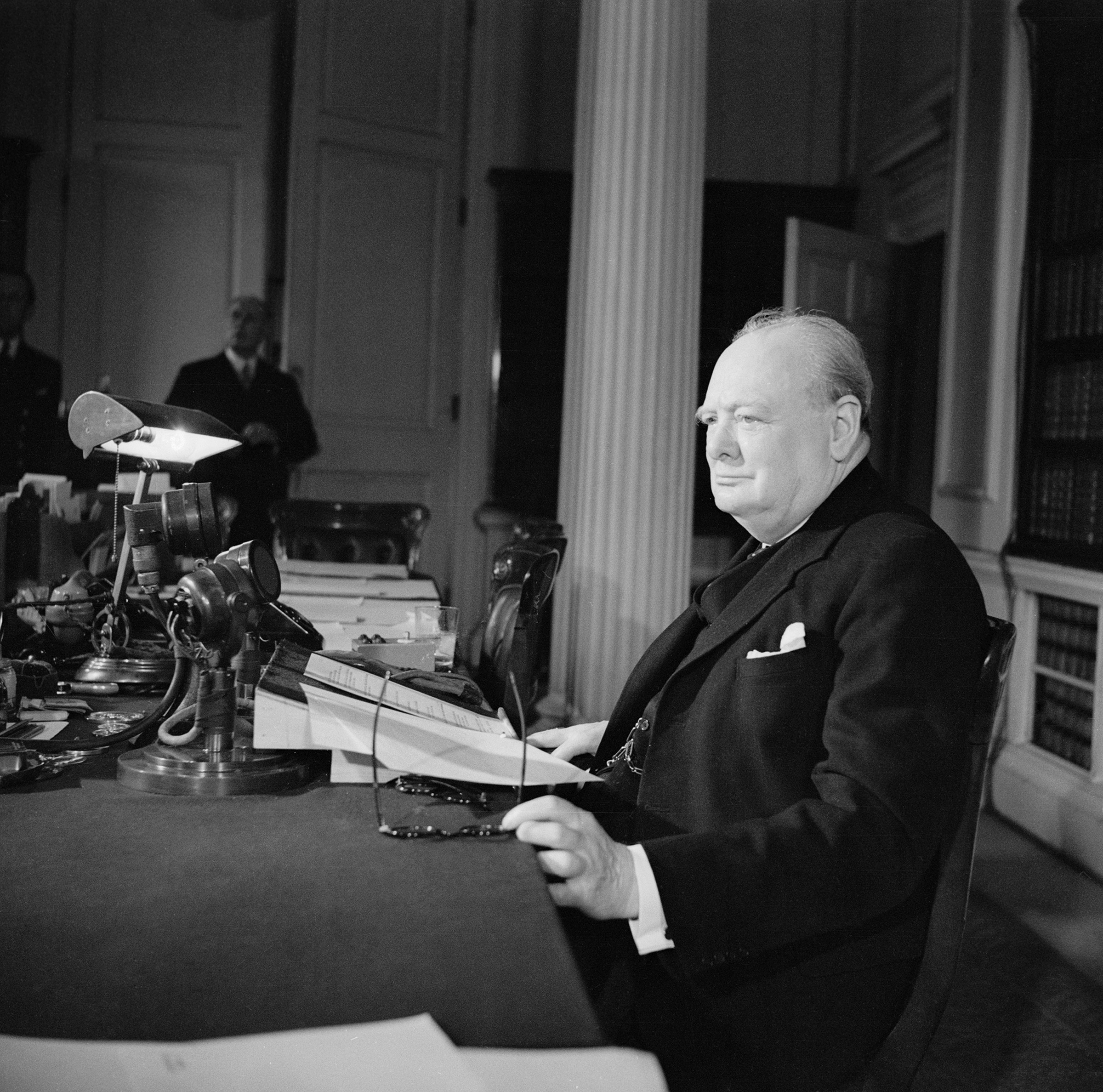Churchill makes the victory broadcast on BBC radio, May 8, 1945.