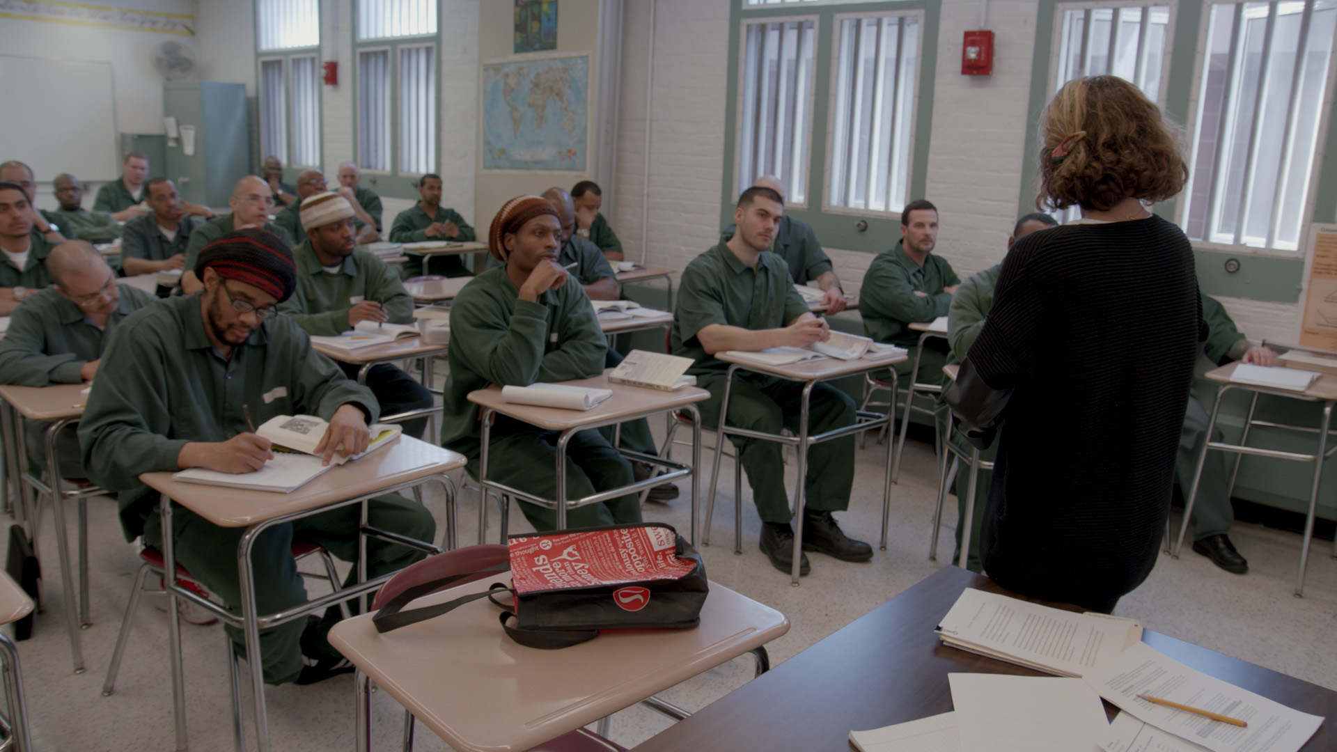Bard Prison Initiative (BPI) students at Eastern New York Correctional Facility in an advanced bachelor's degree seminar.