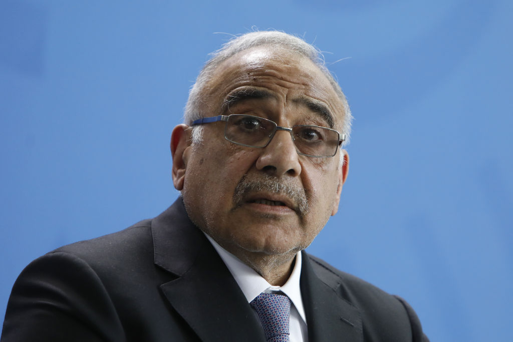 Iraqi Prime Minister Adil Abdul-Mahdi addresses the media during a press conference at the Chancellery on April 30, 2019 in Berlin, Germany.