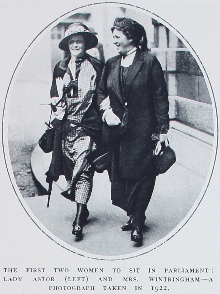 1st and 2nd female Members of Parliament to take their seats, Nancy Astor and Margaret Wintringham. (1)