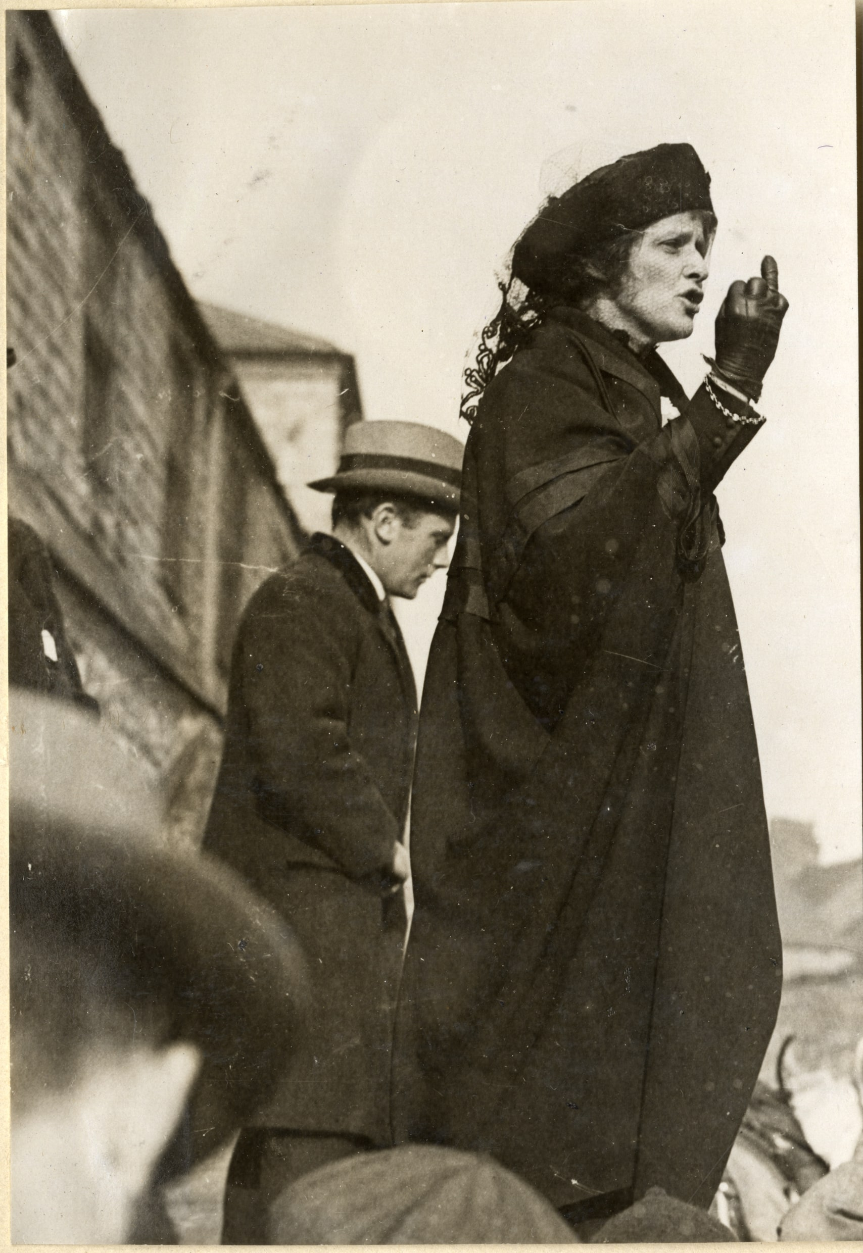 A photograph of Nancy Astor campaigning in 1919.