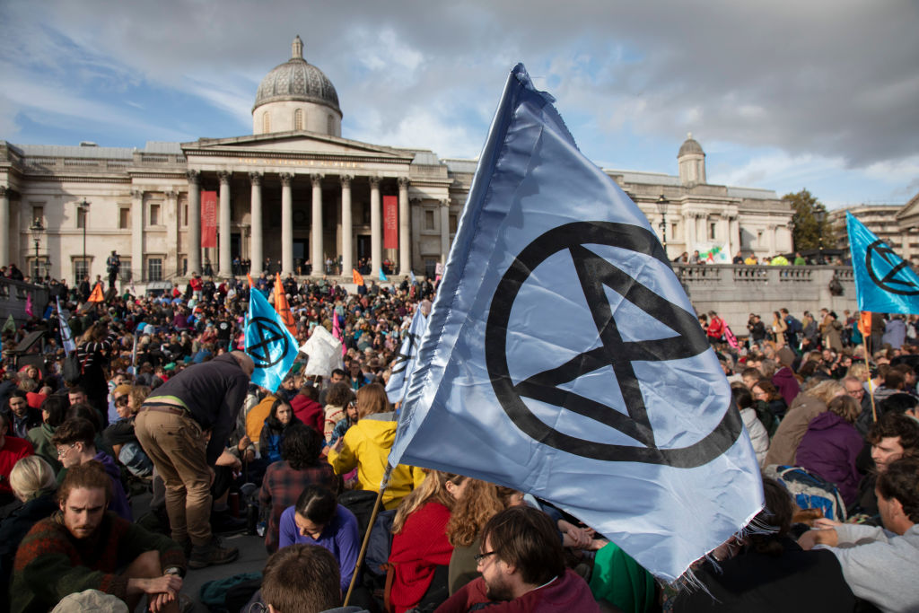 Extinction Rebellion take over Trafalgar Square in a climate protest on 16th October 2019 in London, England, United Kingdom.
