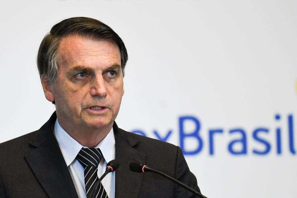 Brazil's President Jair Bolsonaro gives a speech during the Brazil-China Business Seminar in Beijing on October 25, 2019.   (Photo by Madoka Ikegami-Pool via Getty Images)