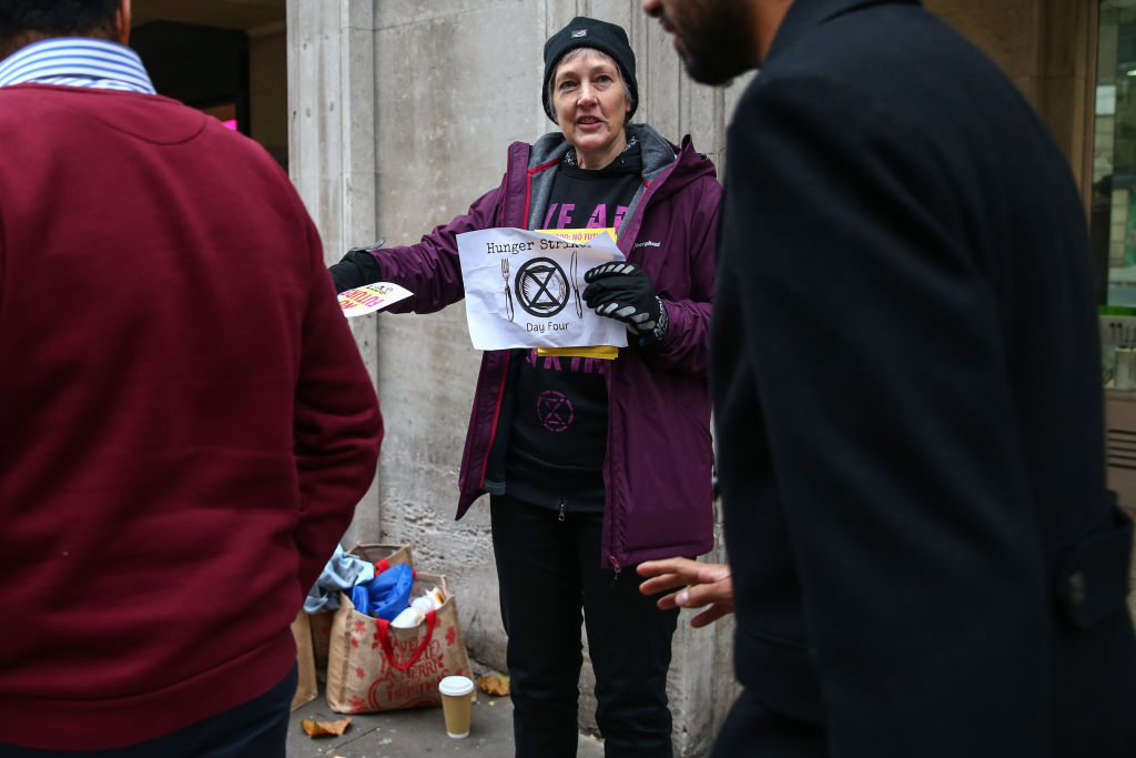 Extinction Rebellion hunger strikers protest outside Dean Bradley House on November 21, 2019 in London, England.