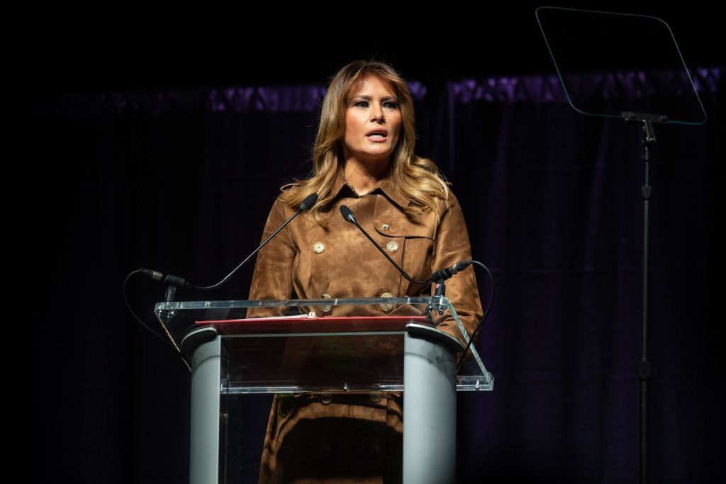 First Lady Melania Trump addresses the B'More Youth Summit in Baltimore, Maryland, on Nov. 26, 2019.
