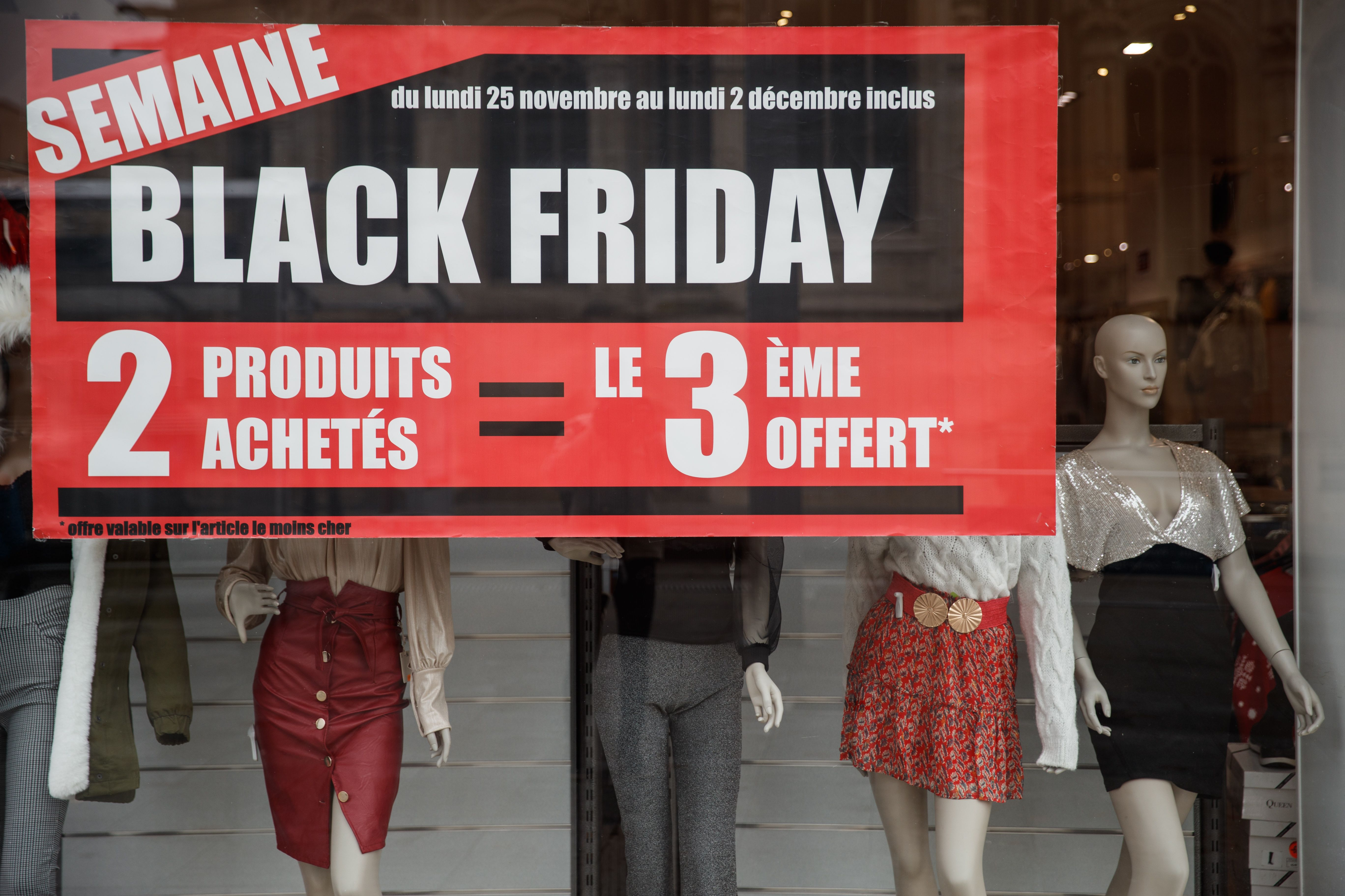 A picture shows a sign for Black Friday sales in a shop in Caen, northwestern France, on November 27, 2019.
