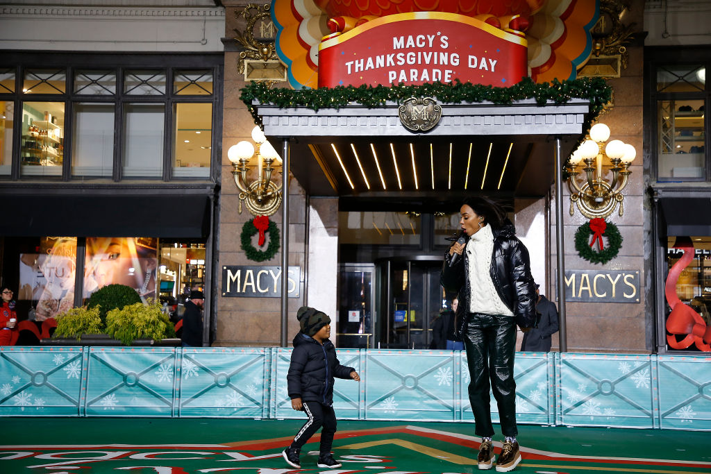 Titan Rowland and Kelly Rowland perform during the 93rd Annual Macy's Thanksgiving Day Parade rehearsals at Macy's Herald Square on November 25, 2019 in New York City.