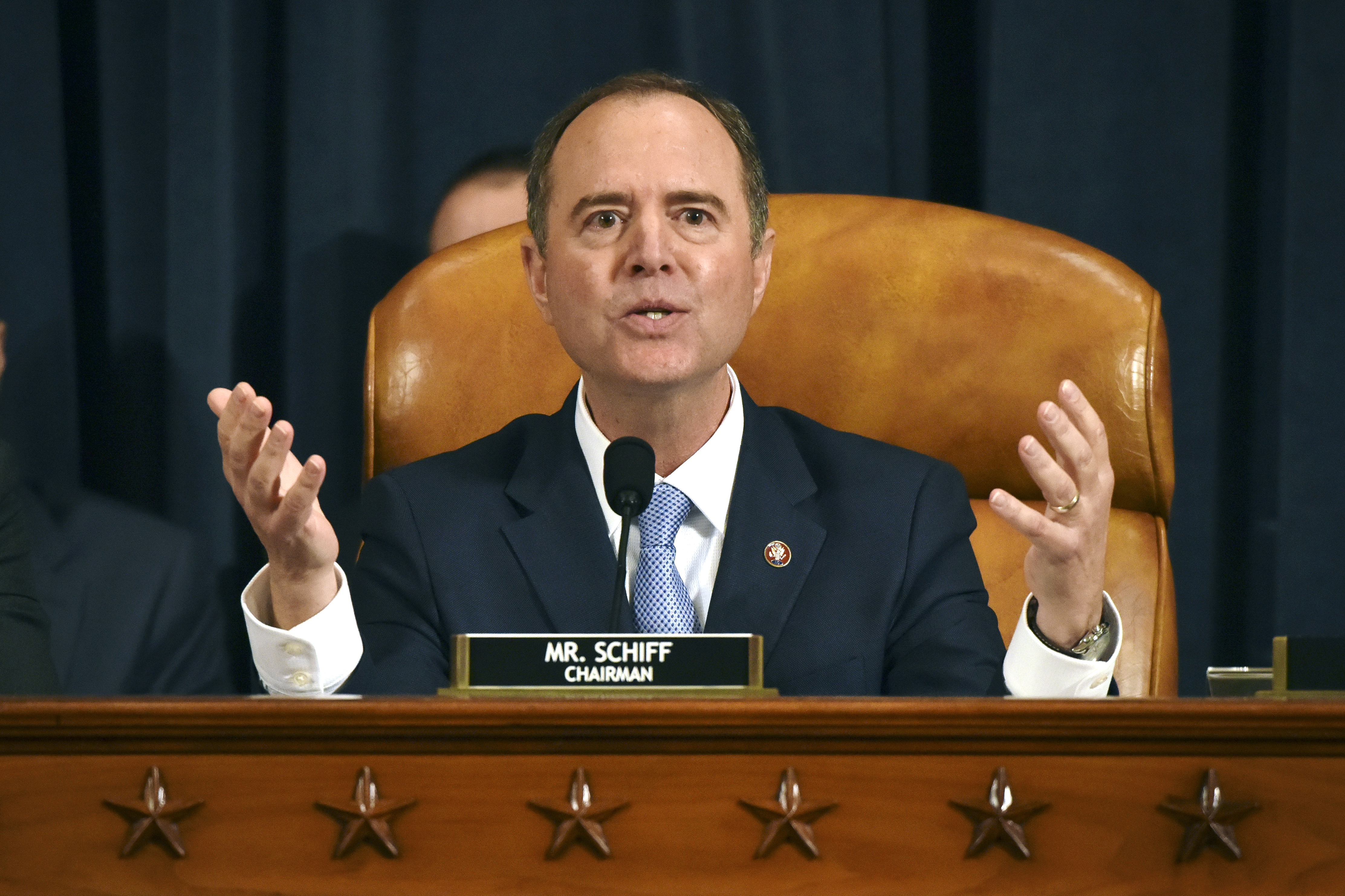 House Intelligence Committee Chairman Adam Schiff, D-Calif., gives final remarks during a hearing where former White House national security aide Fiona Hill, and David Holmes, a U.S. diplomat in Ukraine, testified before the House Intelligence Committee on Capitol Hill in Washington, Thursday, Nov. 21, 2019, during a public impeachment hearing of President Donald Trump's efforts to tie U.S. aid for Ukraine to investigations of his political opponents.