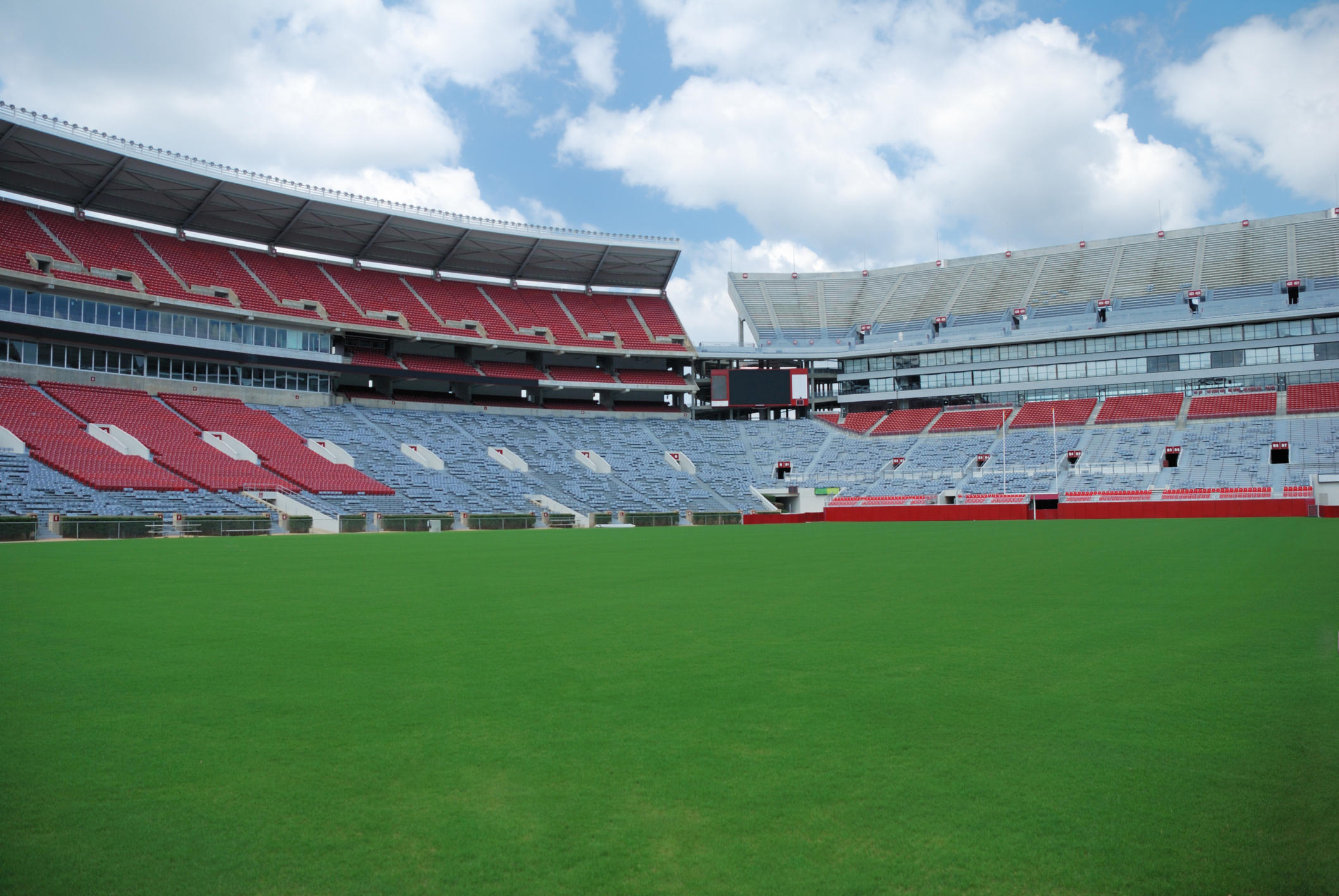 Football stadium with field ready to be lined.