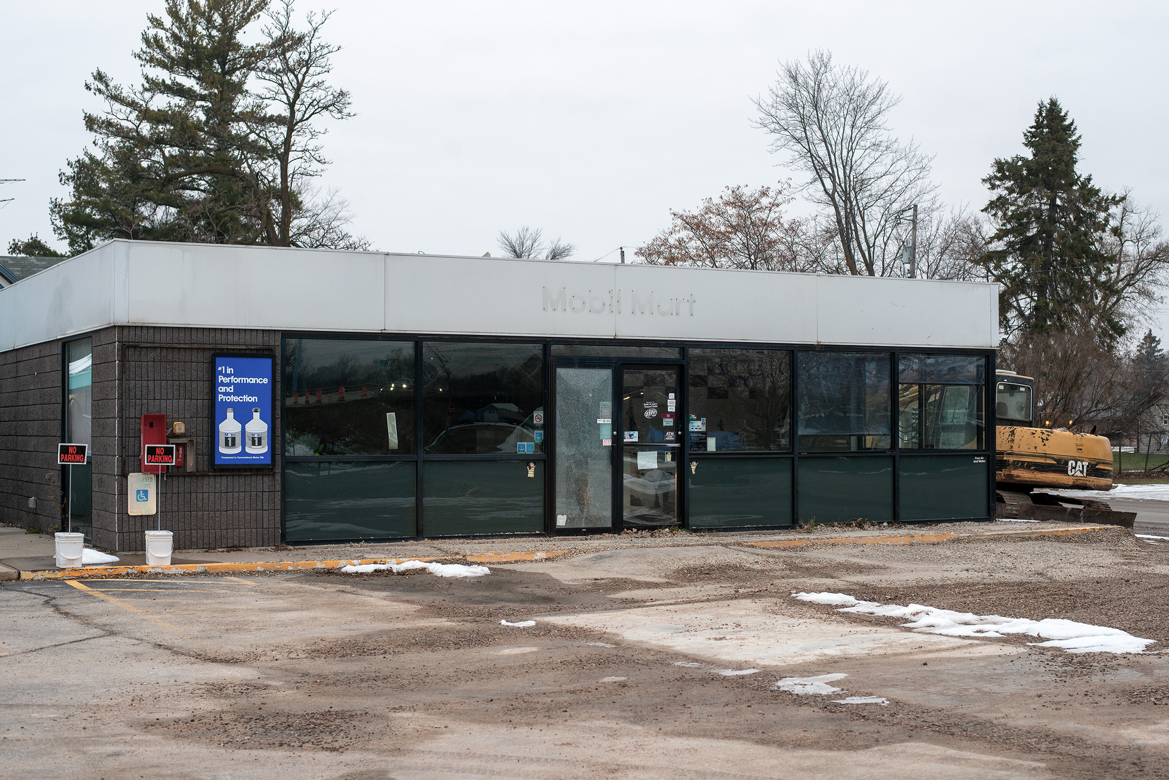 A shuttered Mobil Mart in Fremont, Wisconsin, on Nov. 20, 2019.
