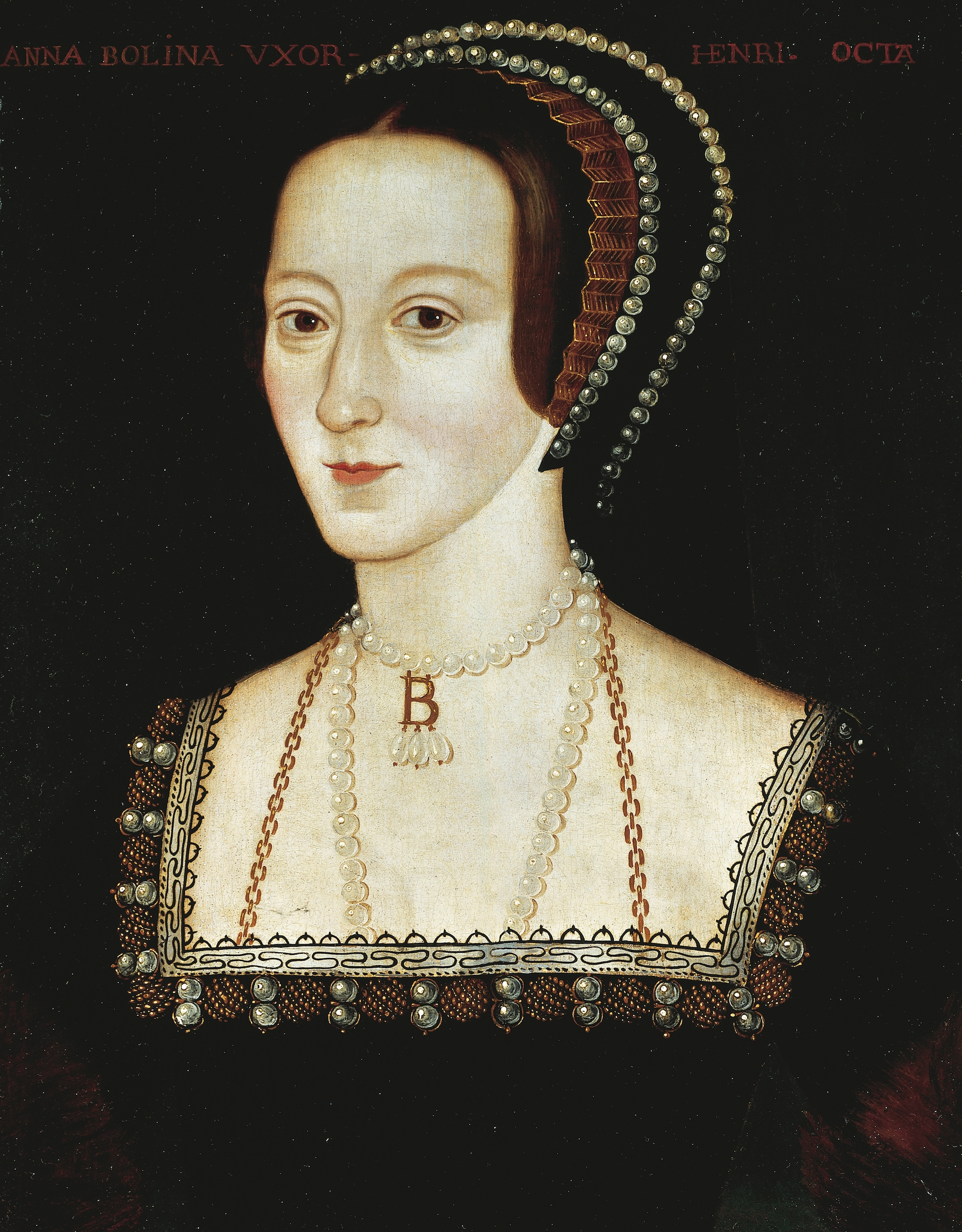 Portrait of Anne Boleyn (1507-London, 1536), Queen of England. Painting by unknown artist, oil on panel, ca 1533-1536.