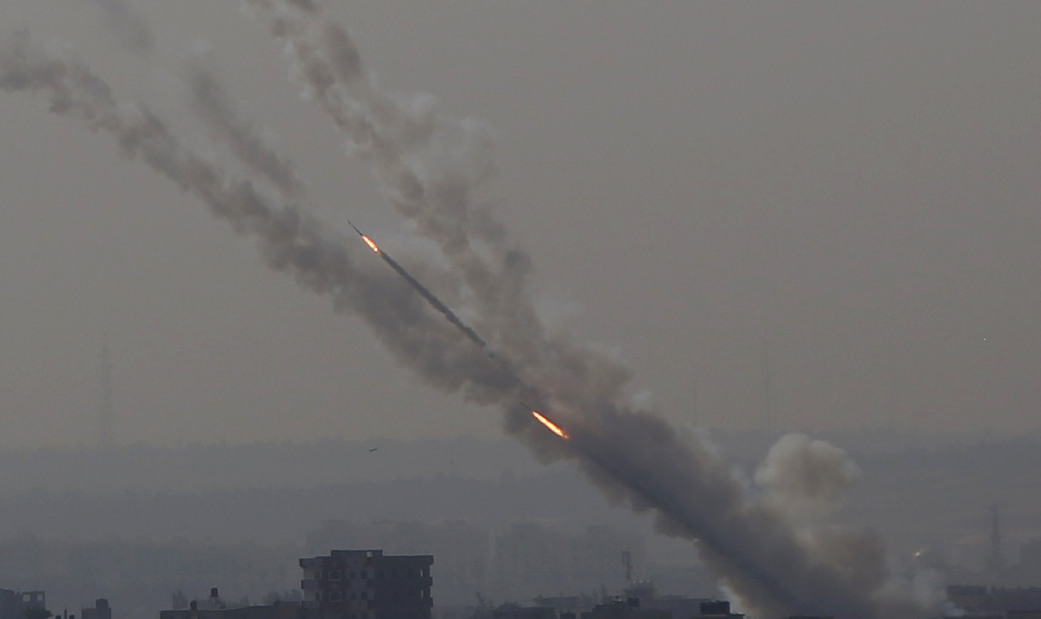 Rockets are launched from Gaza Strip to Israel, Tuesday, Nov. 12, 2019.