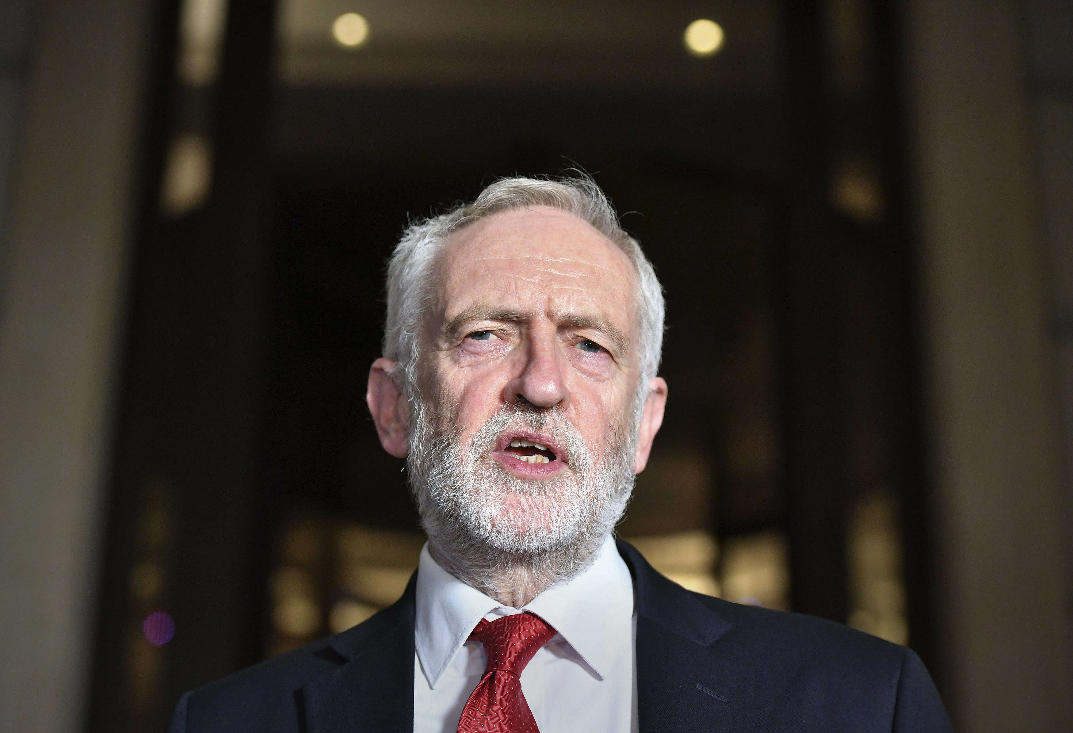Britain's main opposition Labour Party leader Jeremy Corbyn speaks to the media, in London, Saturday Nov. 16, 2019.