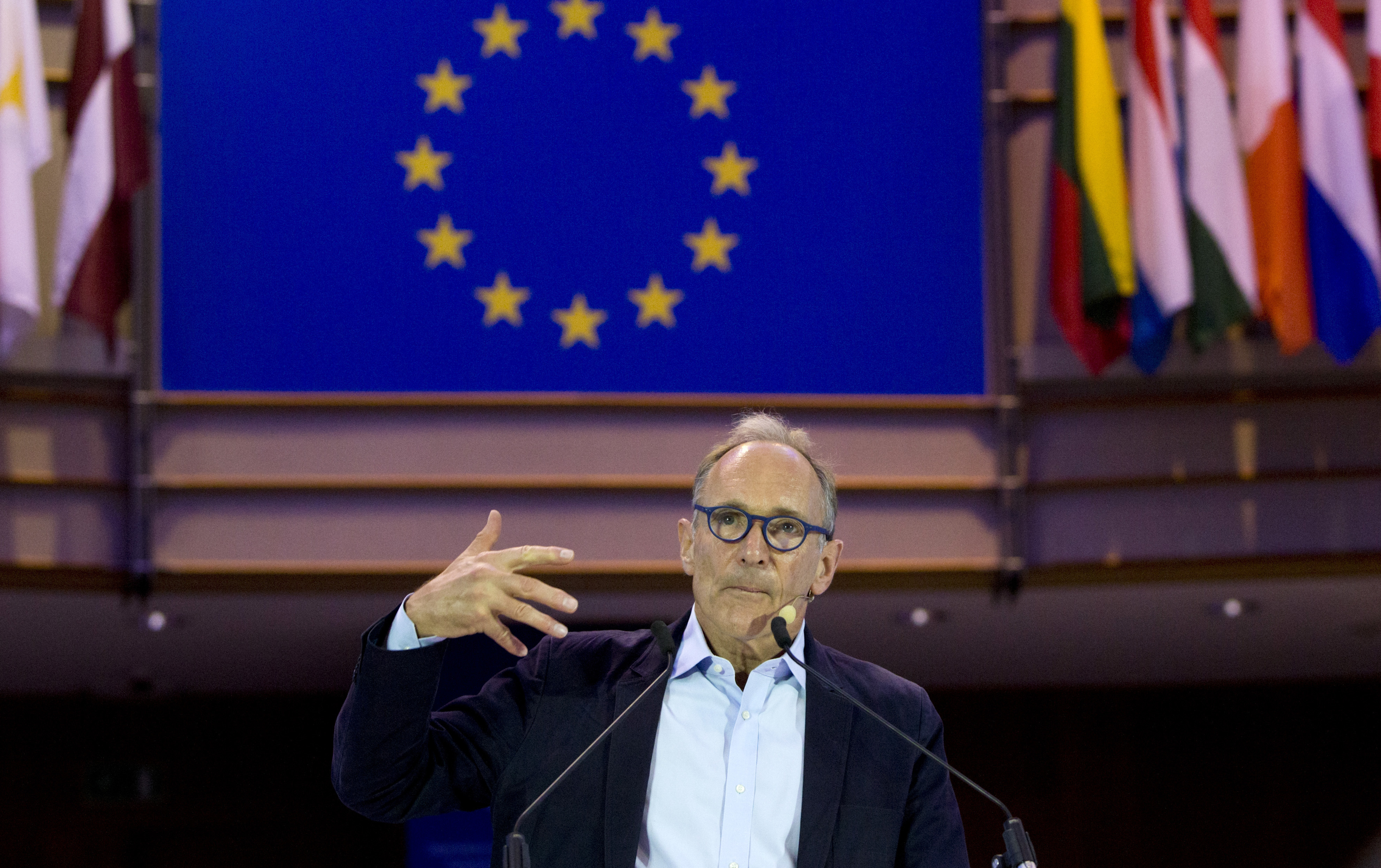This Oct. 24, 2018, file photo shows creator of the World Wide Web Sir Tim Berners-Lee speaking during a data privacy conference at the European Parliament in Brussels.