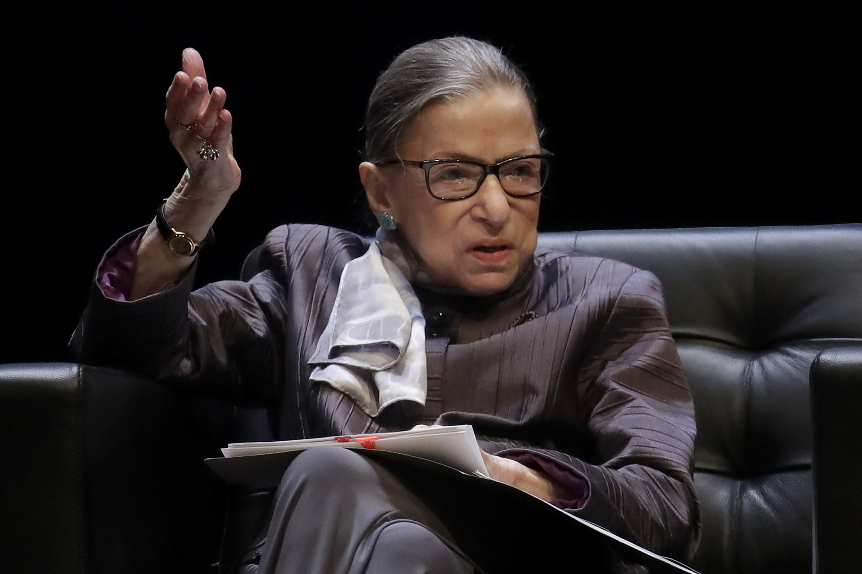 U.S. Supreme Court Justice Ruth Bader Ginsburg gestures while speaking during the inaugural Herma Hill Kay Memorial Lecture at the University of California at Berkeley, in Berkeley, Calif., Oct. 21, 2019.