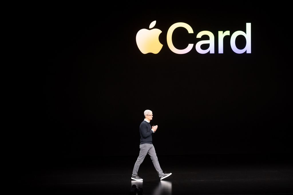 Former Apple CEO Tim Cook introduces Apple Card during a launch event at Apple headquarters on March 25, 2019, in Cupertino, California.