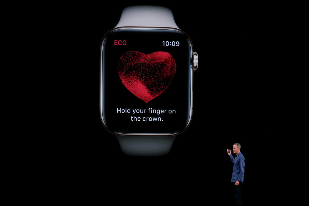 Apple COO Jeff Williams introduces the new Apple Watch capable of taking an FDA-approved electrocardiogram at the company's annual product launch, Sept. 12, 2018.