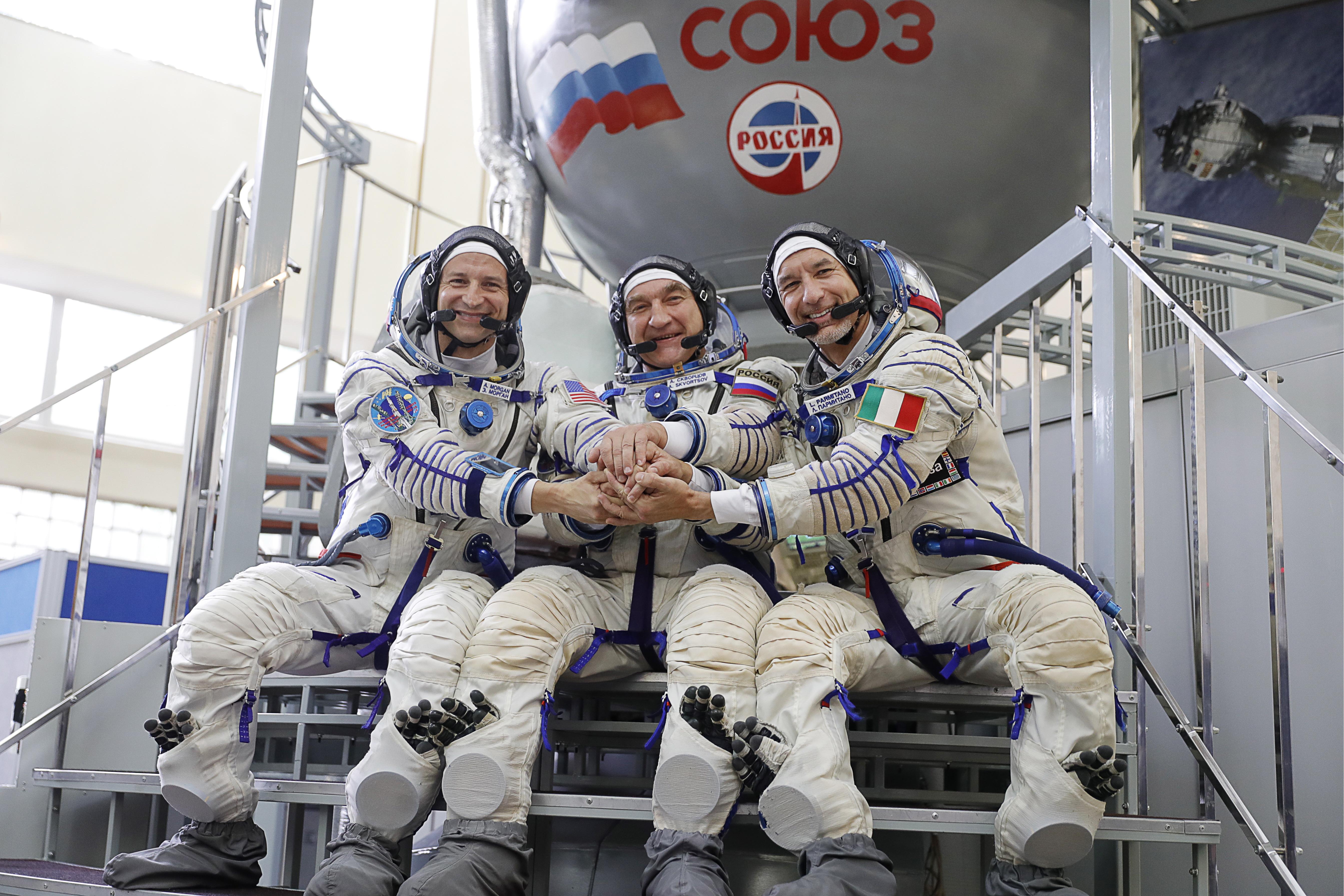 NASA astronaut Andrew R Morgan, Roscosmos cosmonaut Alexander Skvortsov and ESA astronaut Luca Parmitano (L-R) attend a qualification training session for the upcoming mission to the International Space Station, at Yuri Gagarin Cosmonaut Training Centre in Zvyozdny Gorodok on Jun. 27, 2019.