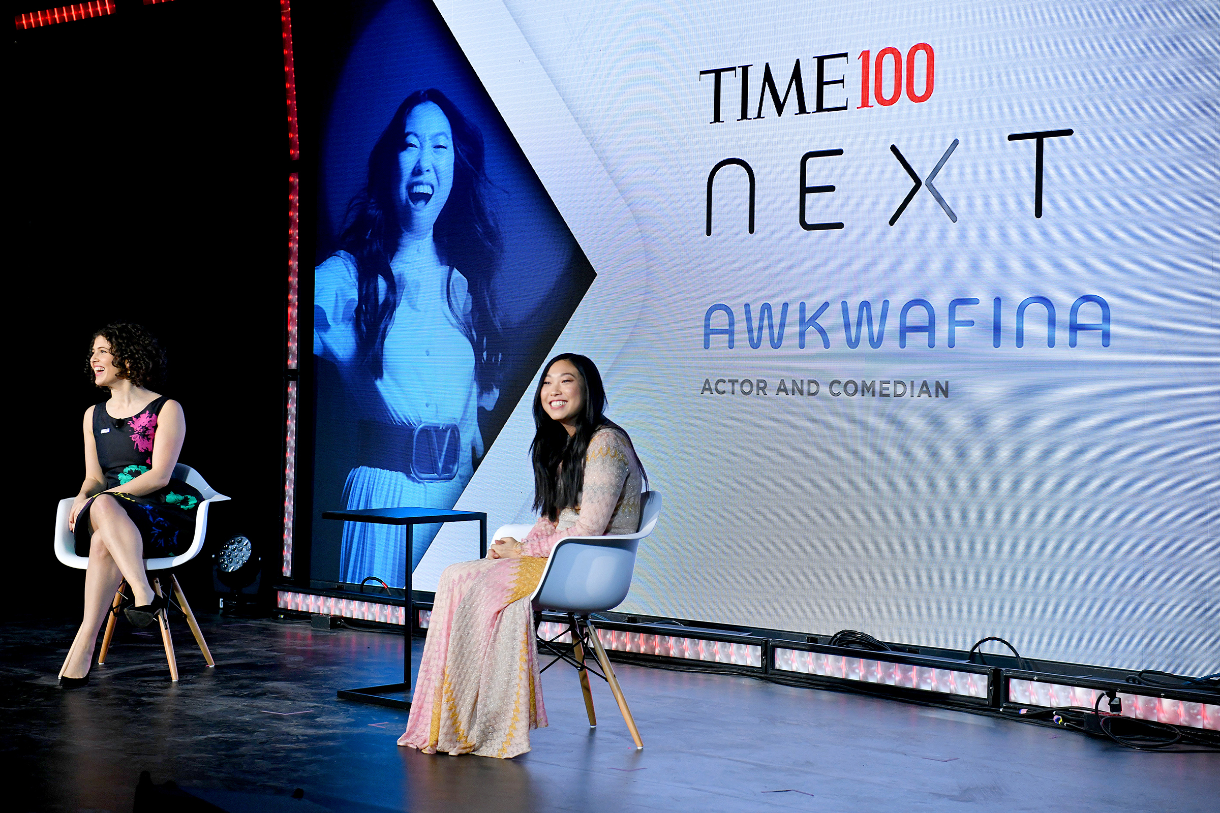 Charlotte Alter and Awkwafina speak onstage during TIME 100 Next 2019 at Pier 17 in New York on Nov. 14, 2019.