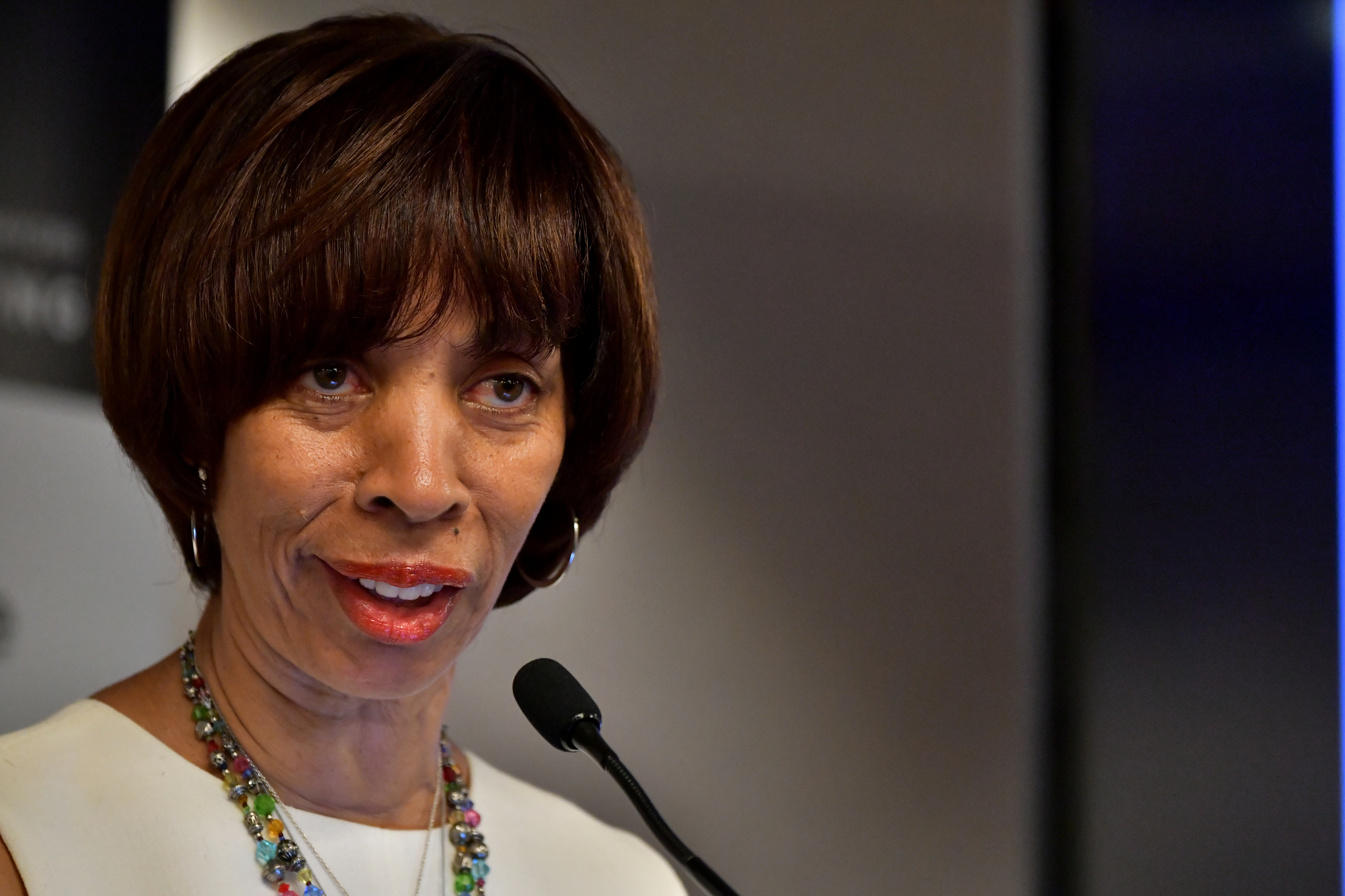 Baltimore Mayor Catherine Pugh speaks at a session during the U.S. Conference of Mayors on June 8, 2018 in Boston, Massachusetts.