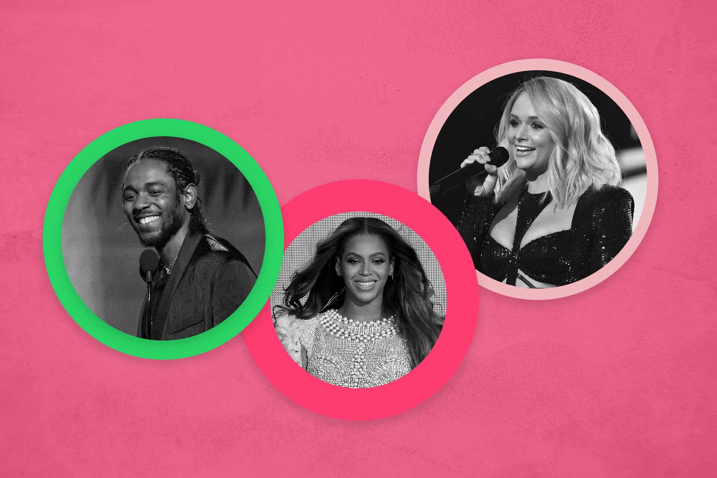 Kendrick Lamar, Beyoncé and Miranda Lambert
