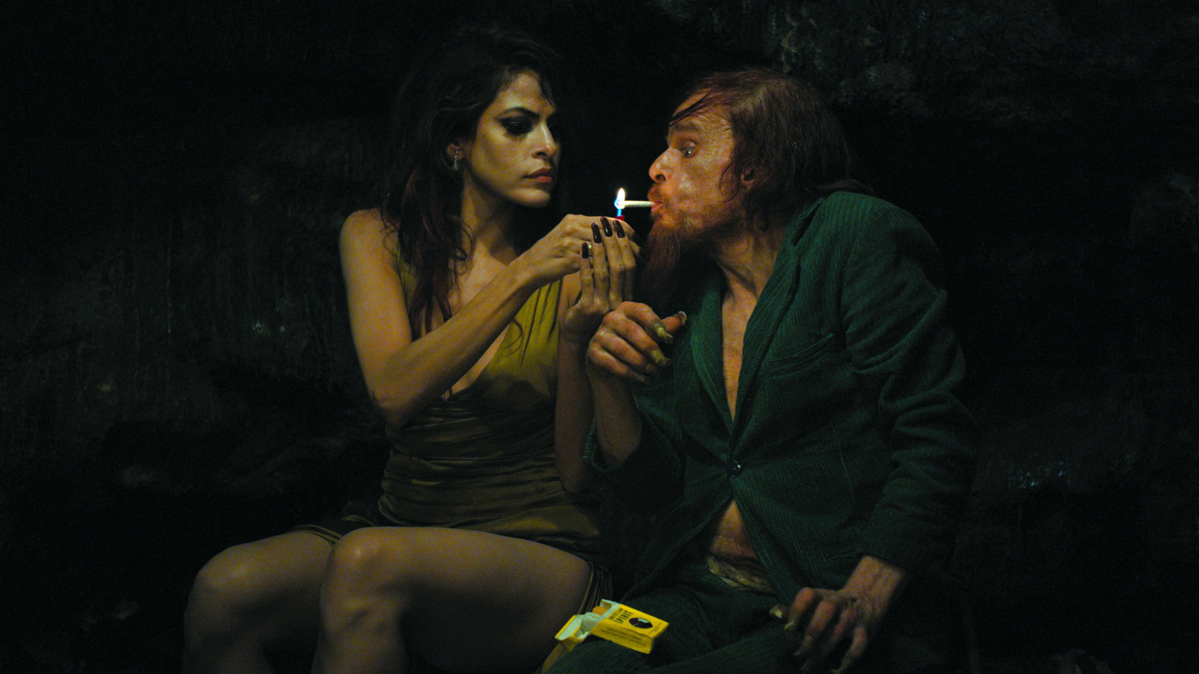 (L-R) Eva Mendes and Denis Lavant in Holy Motors.