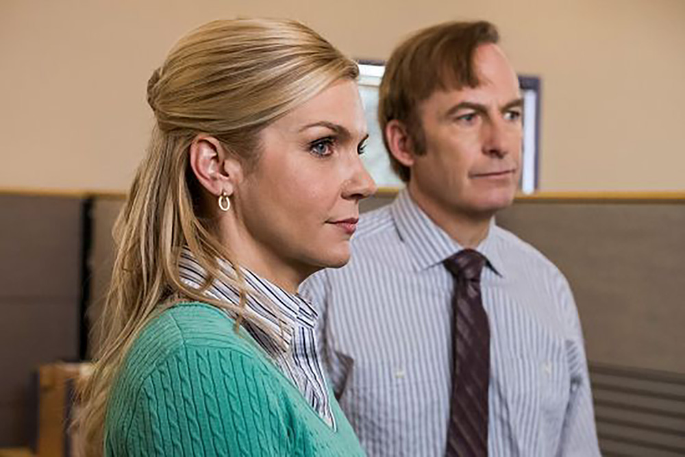 Rhea Seehorn as Kim Wexler and Bob Odenkirk as Jimmy McGill on Better Call Saul.