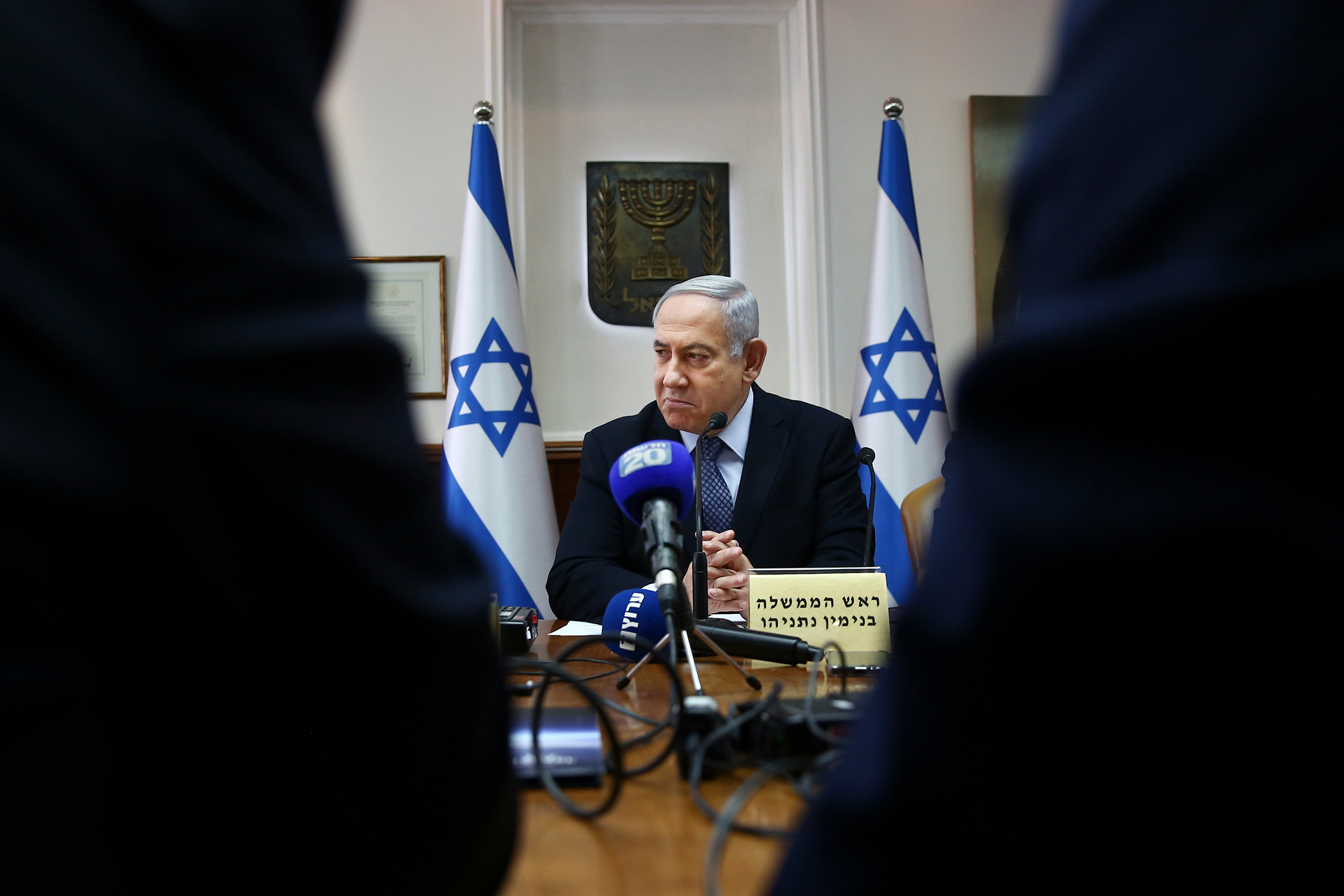 Israeli Prime Minister Benjamin Netanyahu chairing the weekly cabinet meeting at the Prime Minister's office in Jerusalem on Nov. 3, 2019.