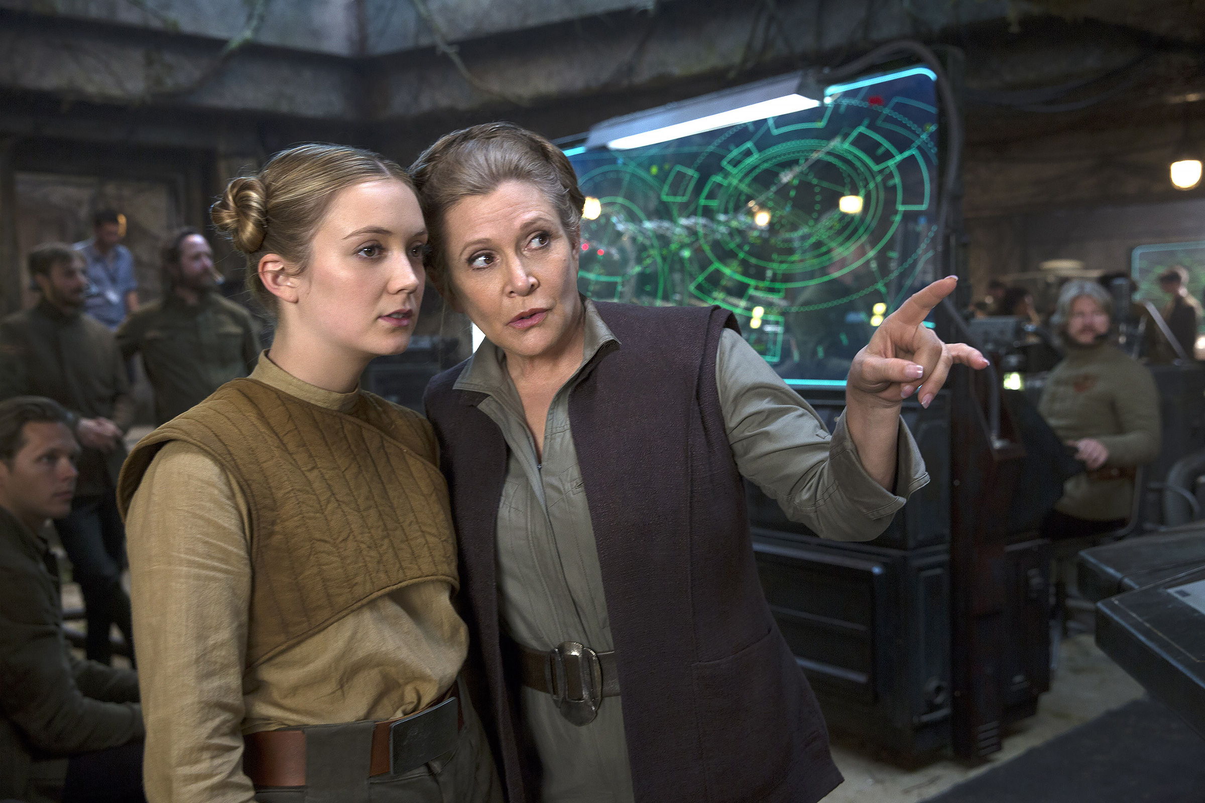 Lourd with her mother on the set of Star Wars: The Force Awakens