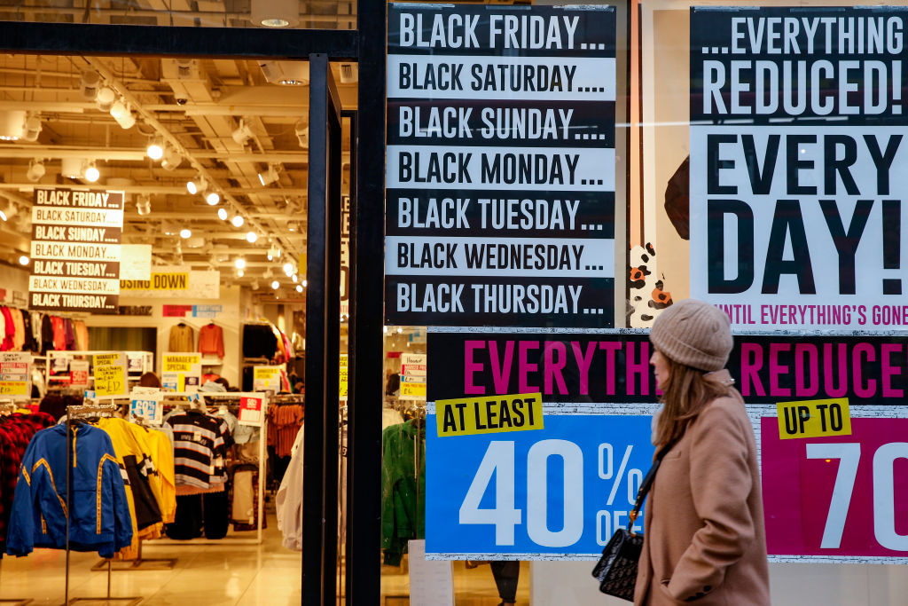 A Forever 21 store advertises sales ahead of the Black Friday sales on November 20, 2019 in London, England.