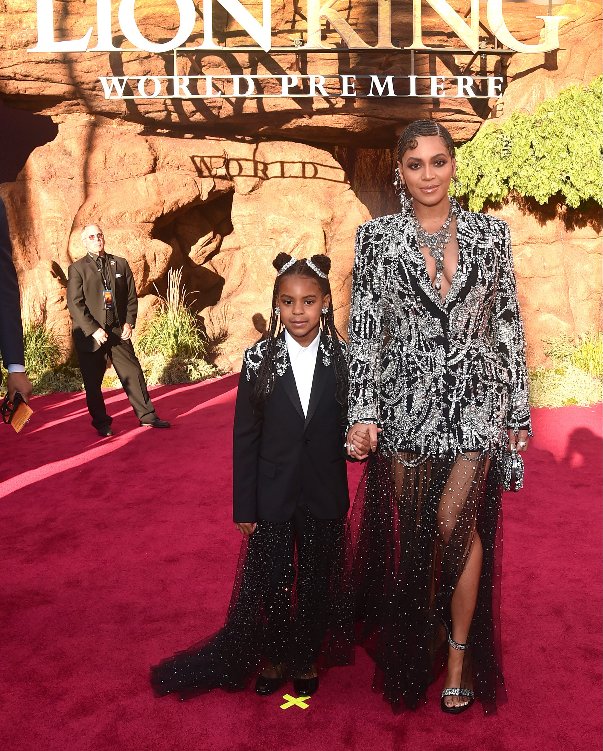 Blue Ivy Carter and Beyoncé Knowles-Carter attend the World Premiere of Disney's  THE LION KING  on July 09, 2019 in Hollywood, California.