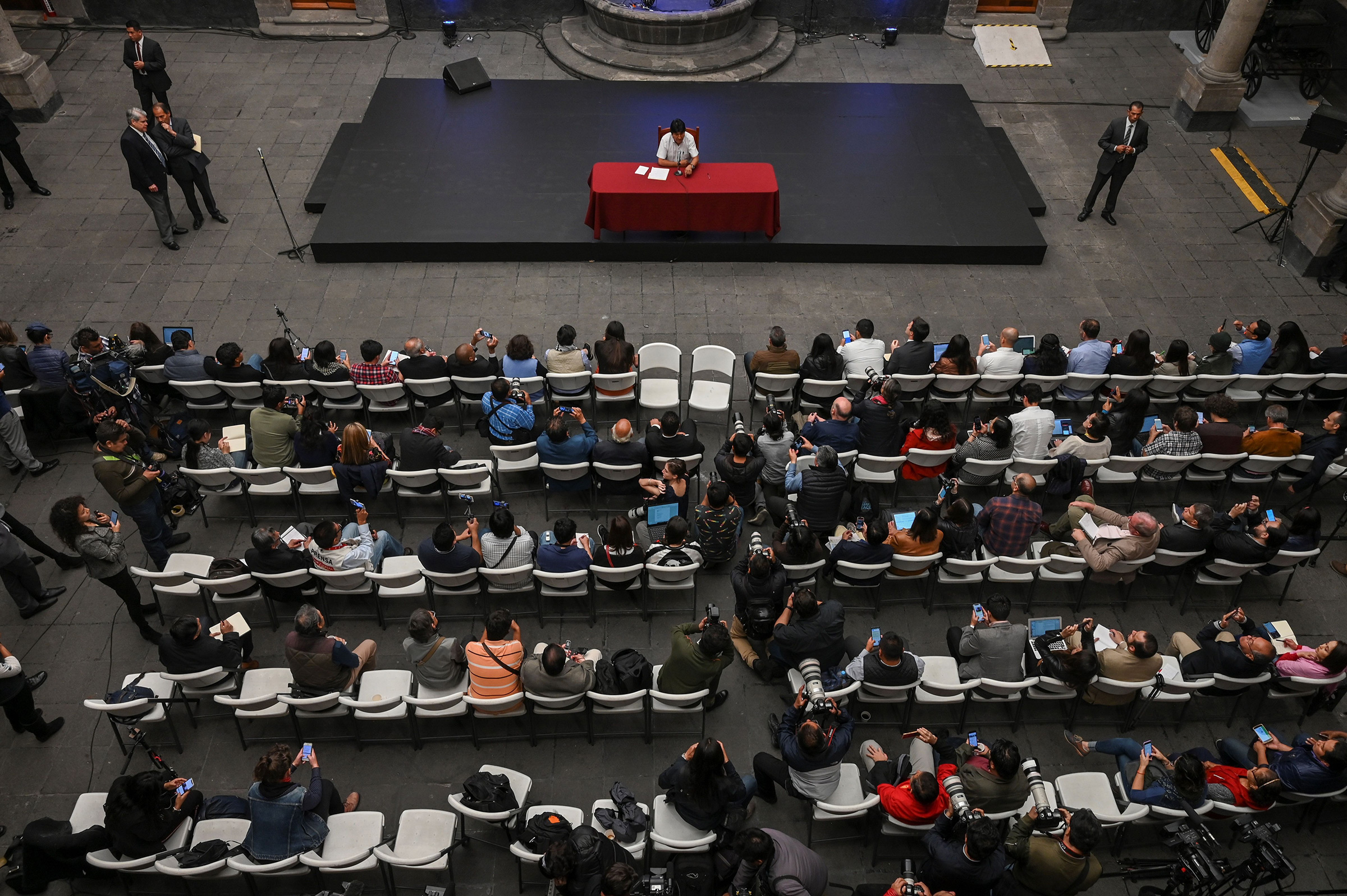 Bolivian ex-President Evo Morales speaks during a press conference at the Museum of the City of Mexico on Nov. 13, 2019.