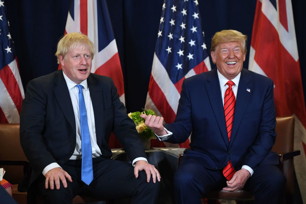 President Trump and British Prime Minister Boris Johnson hold a meeting at U.N. Headquarters in New York, on September 24, 2019