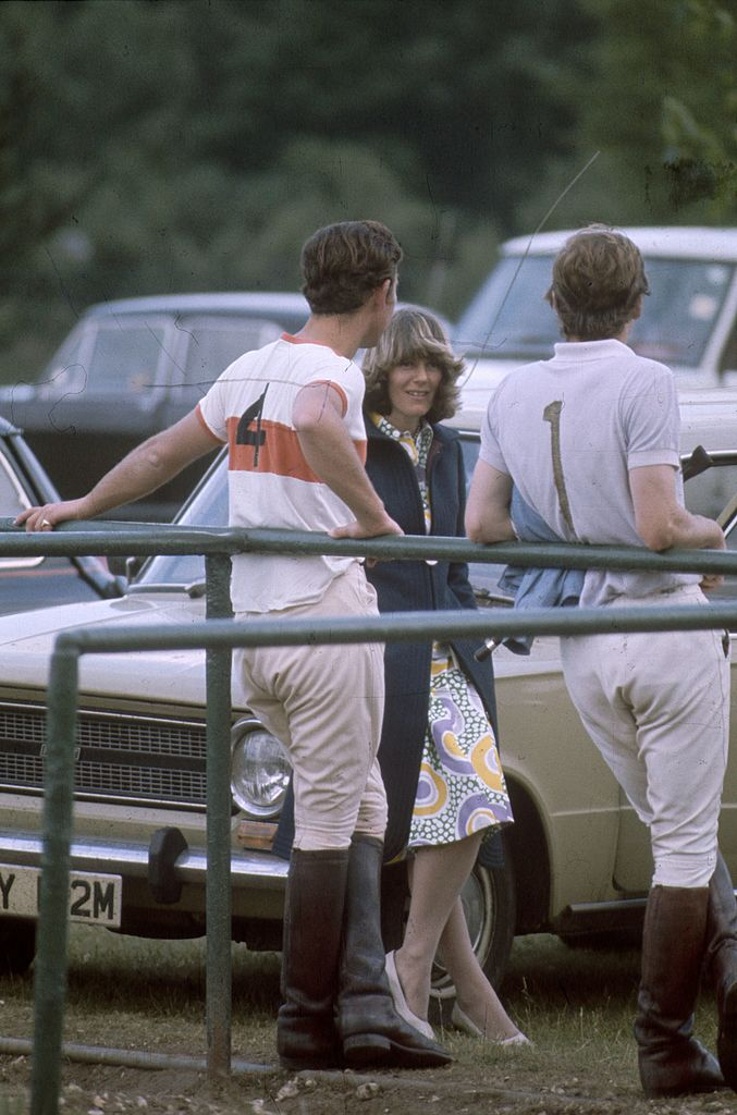 Charles, Prince of Wales and Camilla Shand resting after a polo match in 1970.