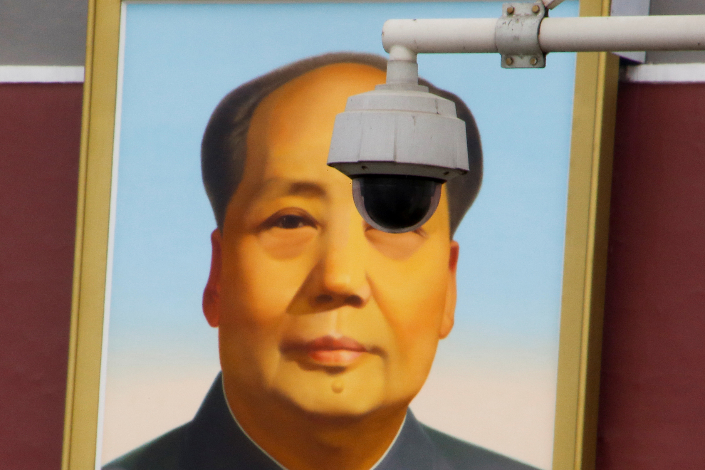 A surveillance camera overlooks Tiananmen Square in Beijing