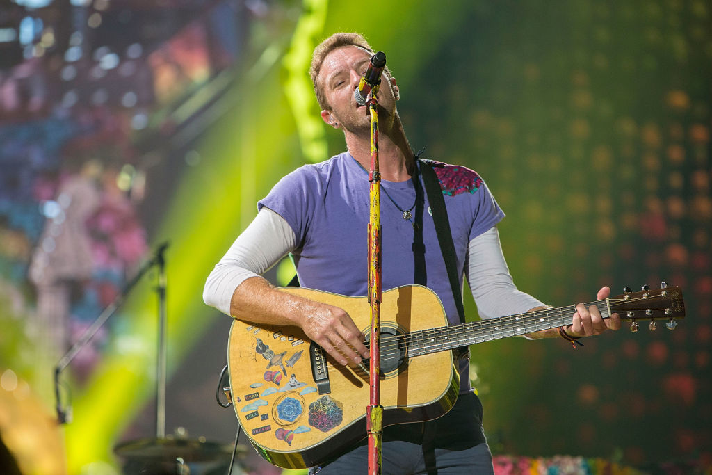 Musician Chris Martin of Coldplay performs on stage at SDCCU Stadium on October 8, 2017 in San Diego, California.
