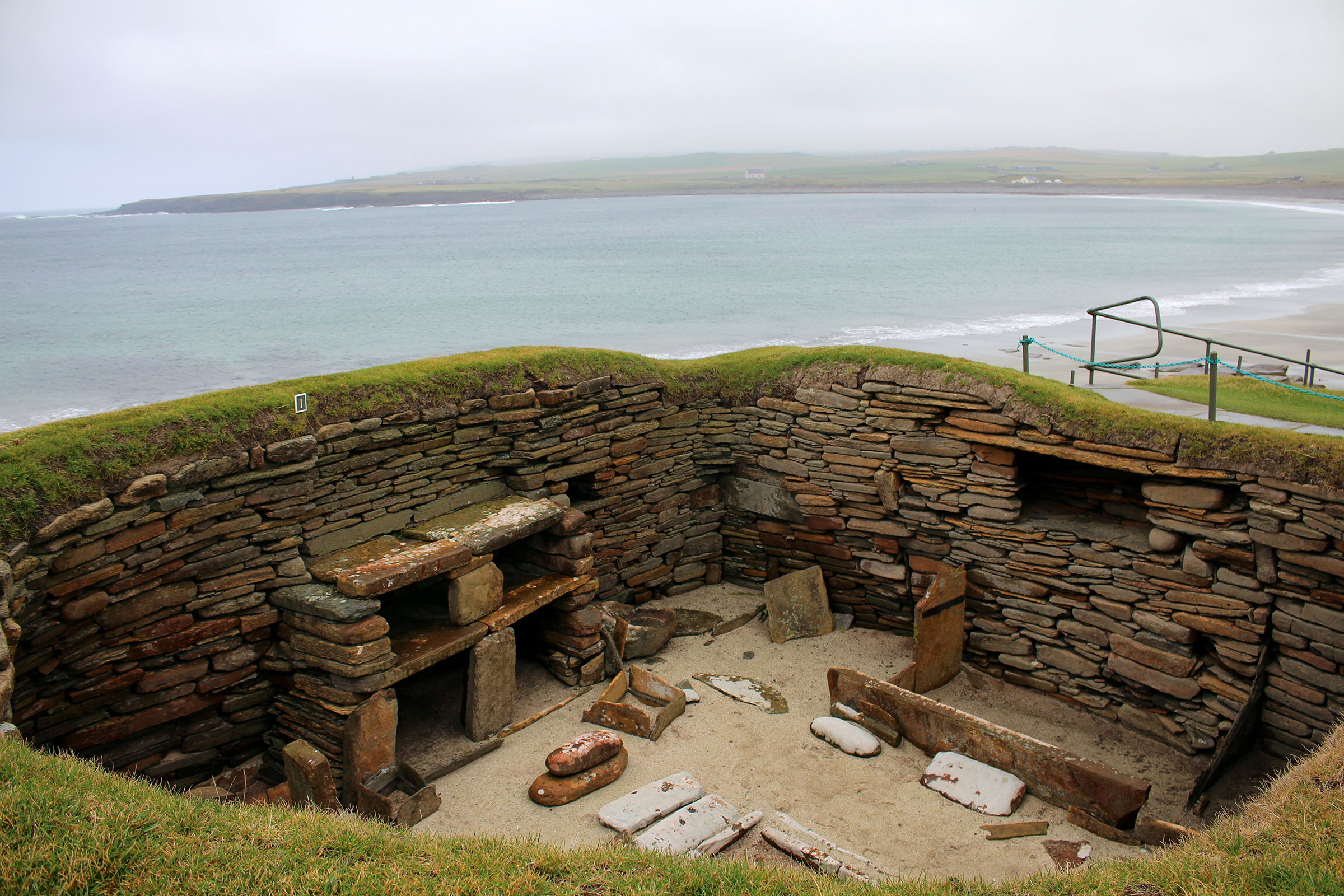 Neolithic Buildings are seen at Skara Brae in the Orkney Islands, Scotland on Sep. 25, 2019